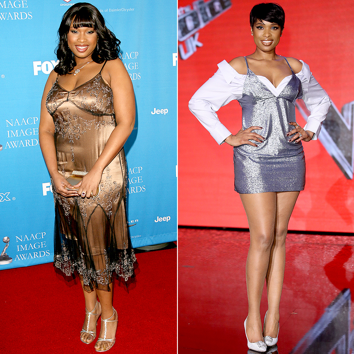 Jennifer Hudson at the NAACP Awards in 2006; Jennifer Hudson attends the final of The Voice UK on March 29, 2017 in London, United Kingdom.