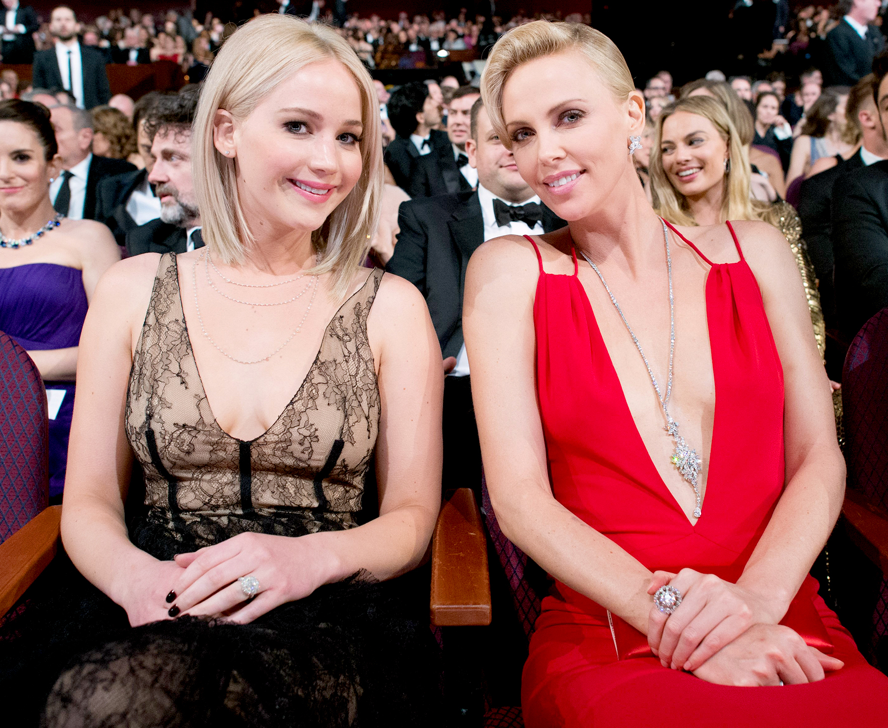 Jennifer Lawrence and Charlize Theron during the live ABC Telecast of The 88th Oscars.