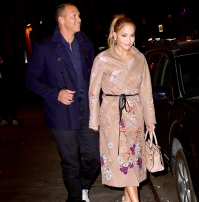 Alex Rodriguez and Jennifer Lopez leave Carbone on May 8, 2017 in New York City.