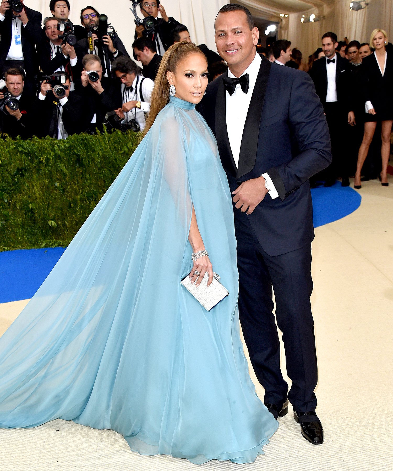 """Jennifer Lopez (L) and Alex Rodriguez attend """"Rei Kawakubo/Comme des Garcons: Art Of The In-Between"""" Costume Institute Gala at Metropolitan Museum of Art on May 1, 2017 in New York City."""