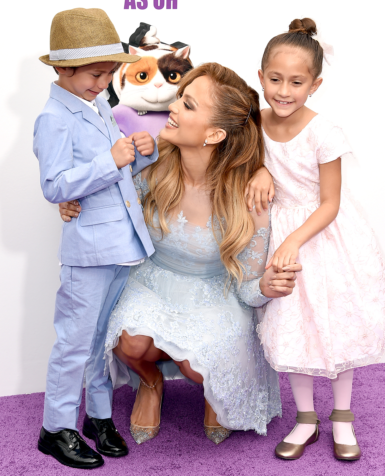 "Jennifer Lopez (C) with daughter Emme (R) and son Max attends the premiere of Twentieth Century Fox And Dreamworks Animation's ""HOME"" at Regency Village Theatre on March 22, 2015 in Westwood, California."