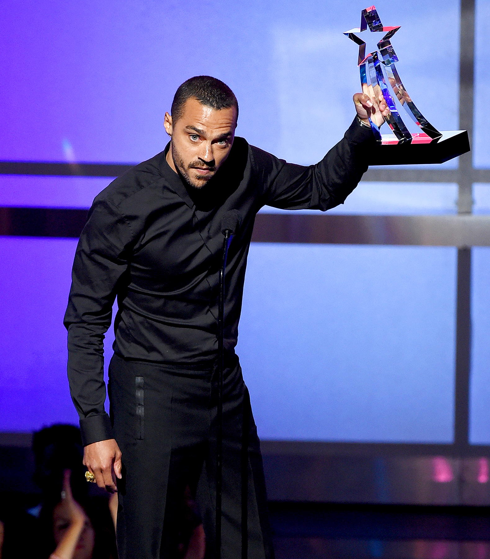 Jesse Williams accepts the Humanitarian Award onstage during the 2016 BET Awards.