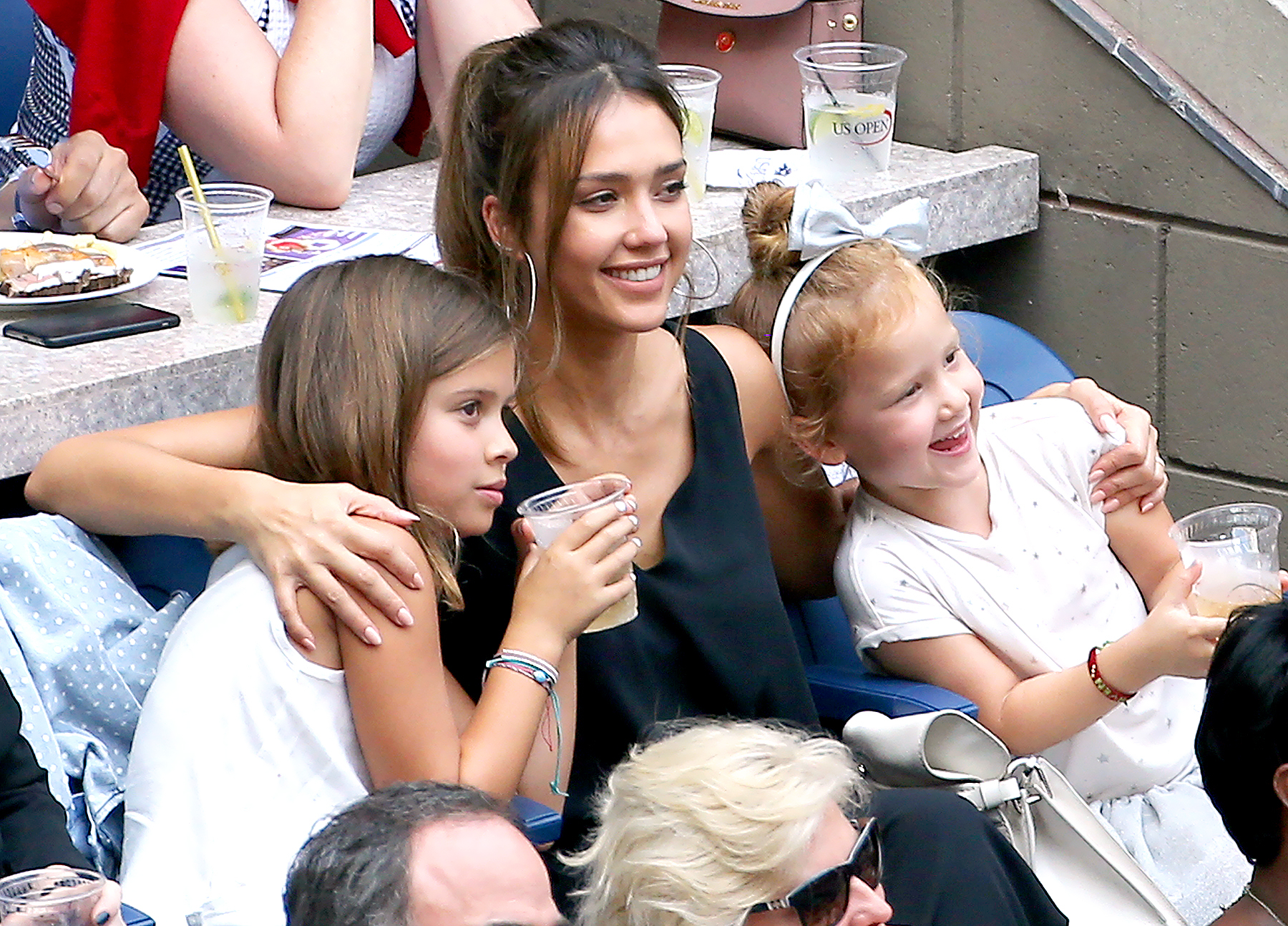 Jessica Alba and her daughters, Honor and Haven Warren, attend the women's final at Arthur Ashe Stadium on day 13 of the 2016 U.S. Open at USTA Billie Jean King National Tennis Center on Sept. 10, 2016.