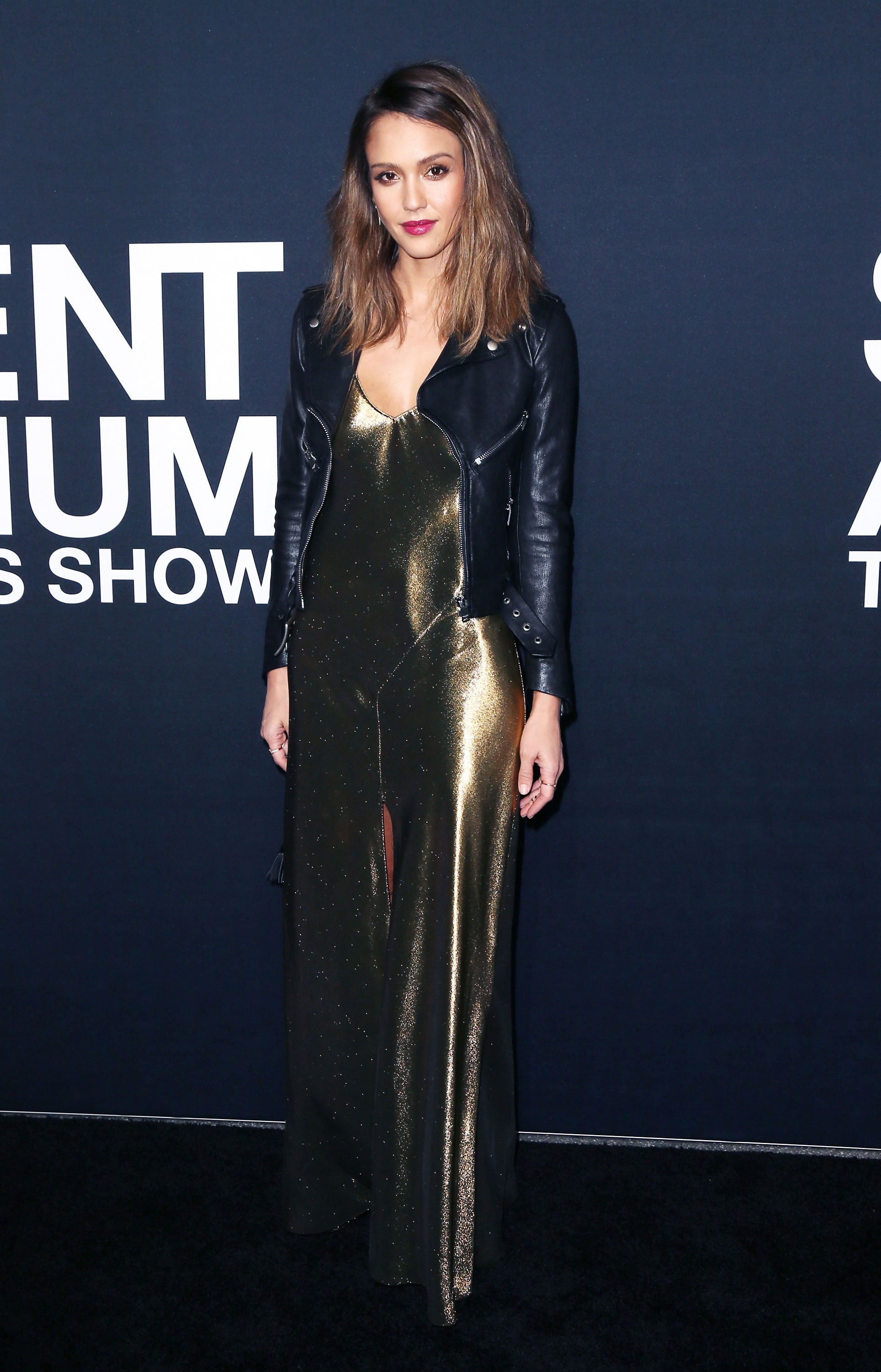 Jessica Alba Pairs A Golden Maxi Dress Edgy Leather Jacket
