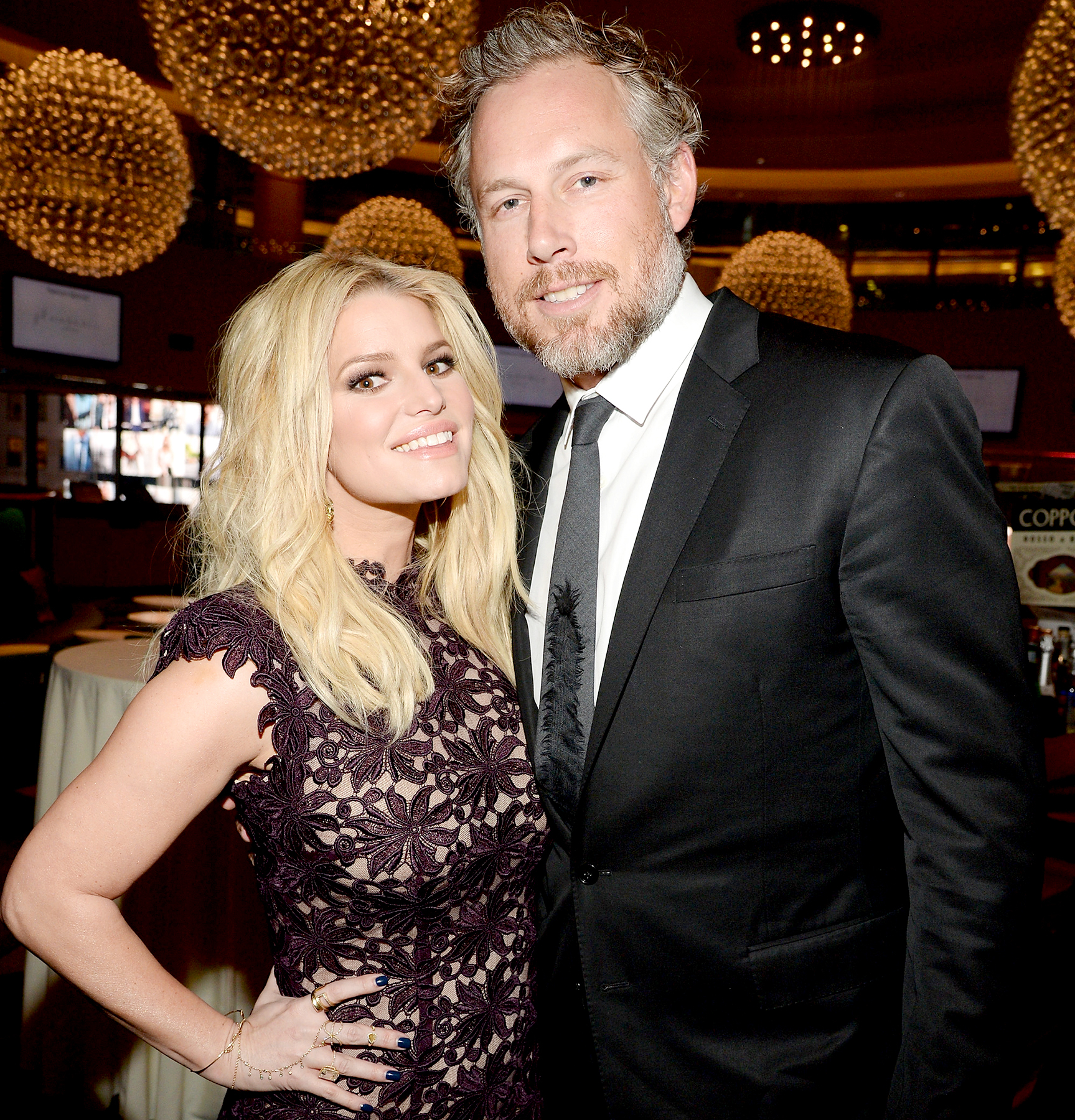 Jessica Simpson and Eric Johnson attend the 2016 YMA Fashion Scholarship Fund Geoffrey Beene National Scholarship Awards Dinner at Marriott Marquis Times Square on January 12, 2016.