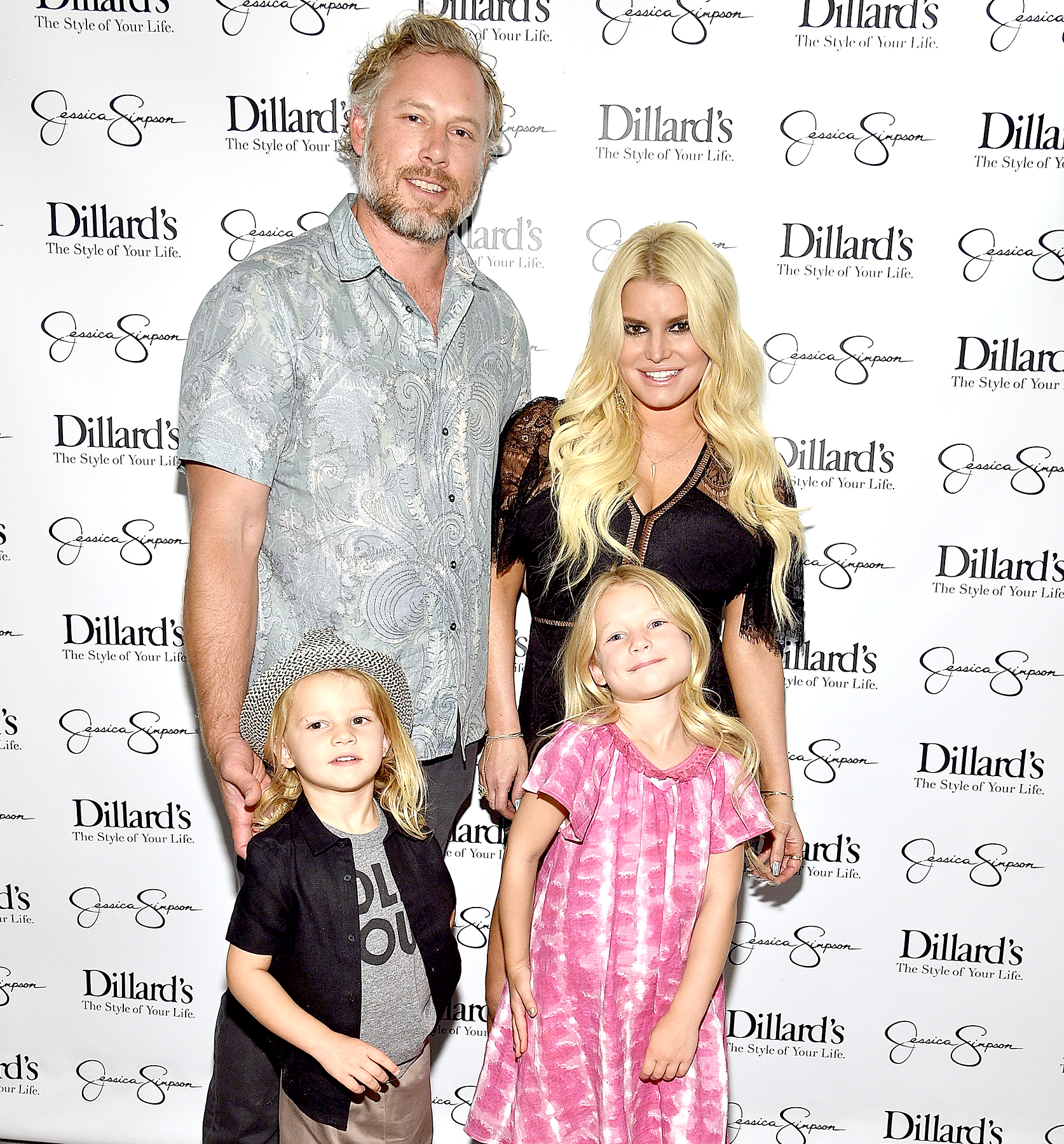 Eric Johnson, Ace Knute Johnson, Maxwell Drew Johnson and Jessica Simpson attend a spring style event benefitting The Boys and Girls Clubs of Waco, TX at at Dillard's on May 6, 2017 in Waco, Texas.