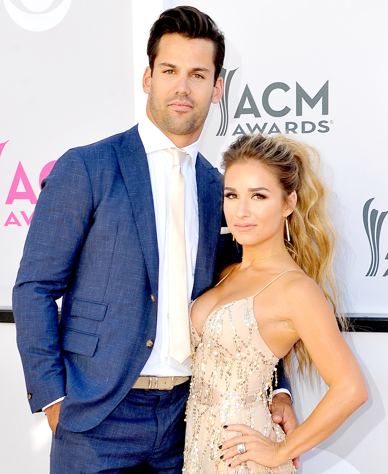 NFL Player Eric Decker and Jessie James Decker arrive at the 52nd Academy Of Country Music Awards on April 2, 2017 in Las Vegas, Nevada.