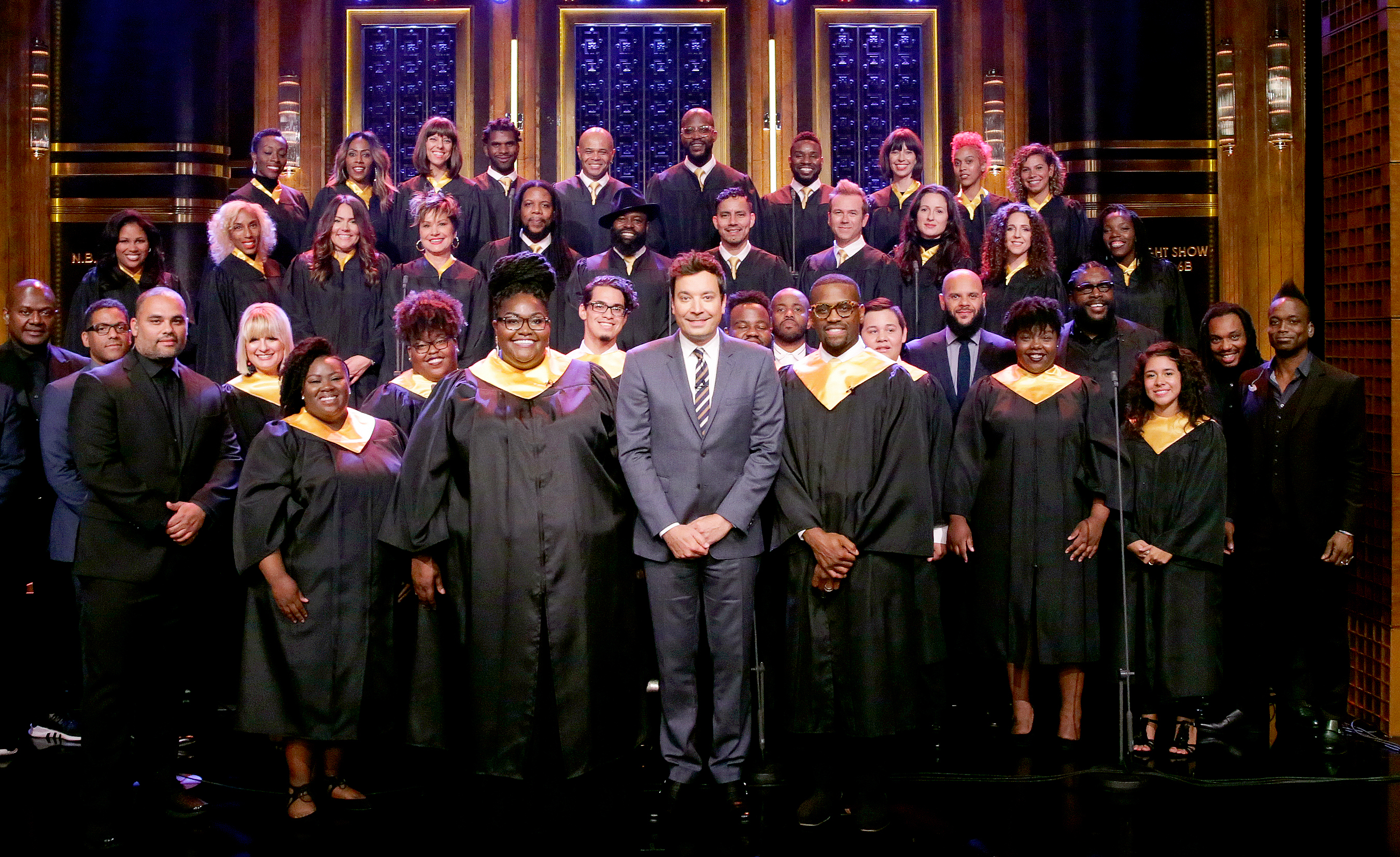 The Houston Choir with Host Jimmy Fallon on September 5, 2017