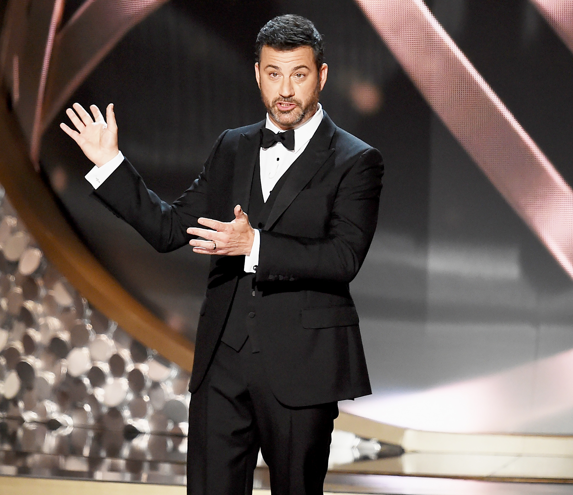 Jimmy Kimmel speaks onstage during the 68th Annual Primetime Emmy Awards.