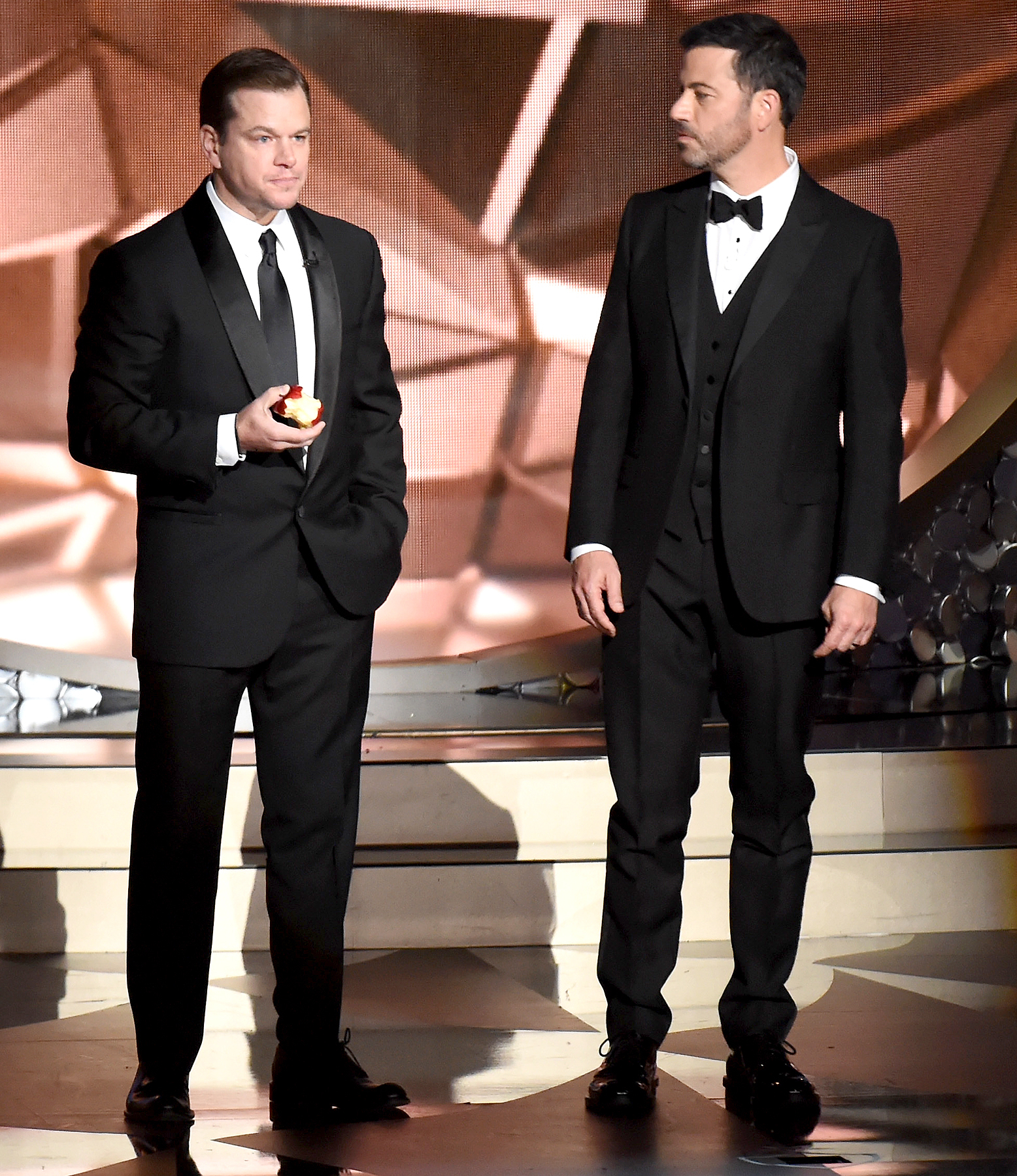 Matt Damon and host Jimmy Kimmel speak onstage during the 68th Annual Primetime Emmy Awards at Microsoft Theater on September 18, 2016 in Los Angeles, California.