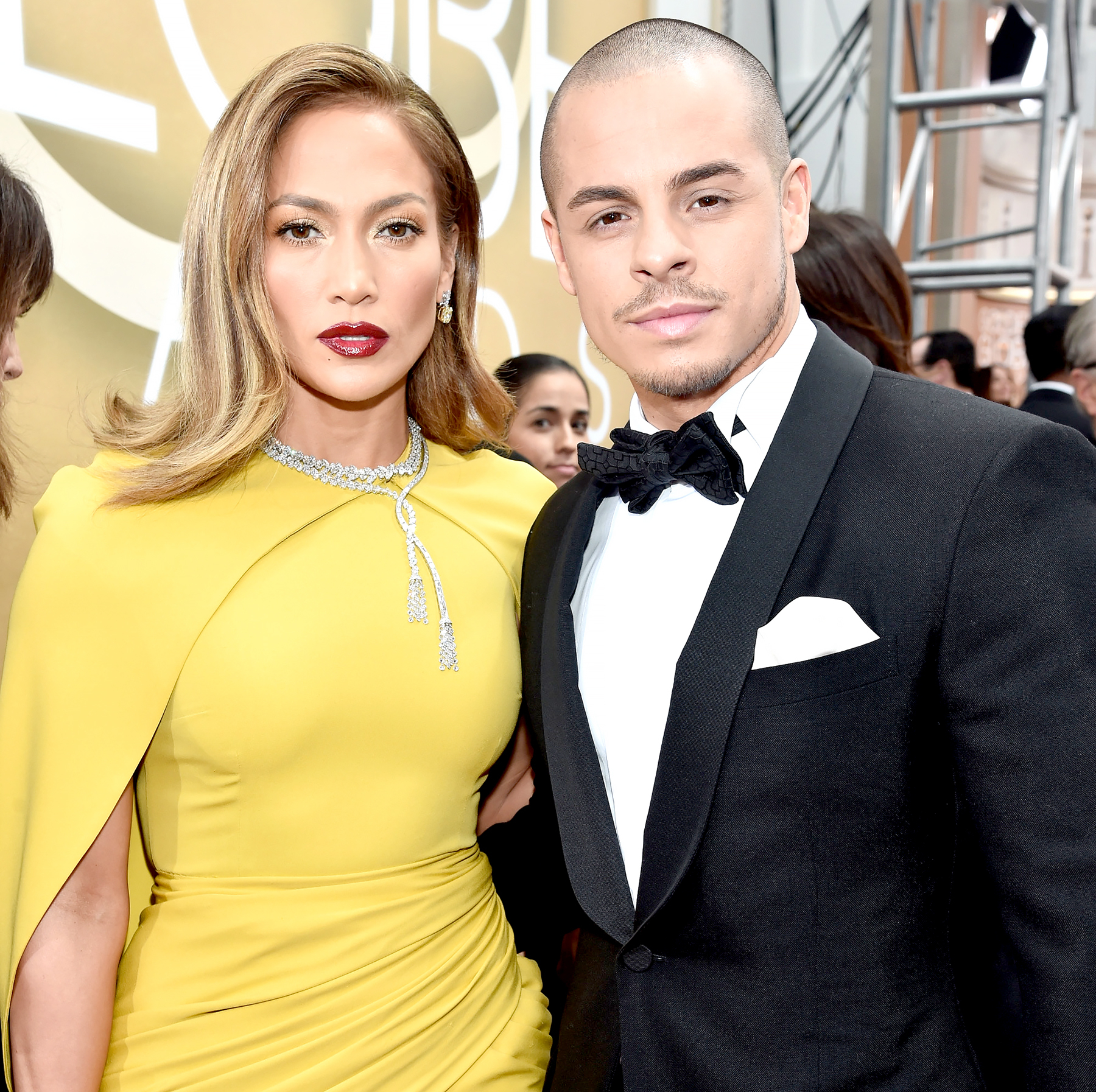 Jennifer Lopez and Casper Smart arrive to the 73rd Annual Golden Globe Awards.