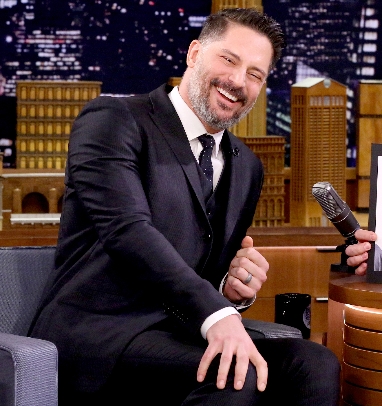 Joe Manganiello during an interview with host Jimmy Fallon on March 21, 2017
