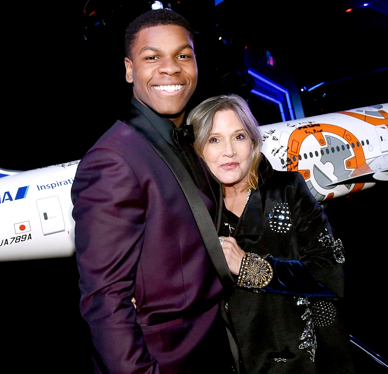 John Boyega and Carrie Fisher attend the world premiere of