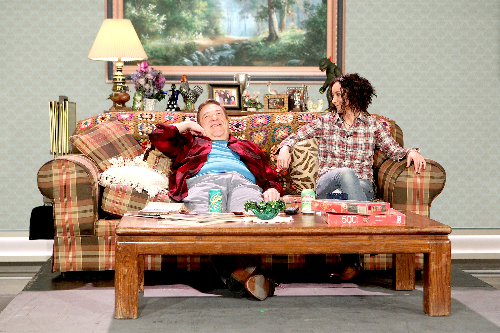 "Former ""Roseanne"" co-stars John Goodman and Sara Gilbert spoof their hit comedy series on ""The Talk,"" Friday, March 10, 2017."