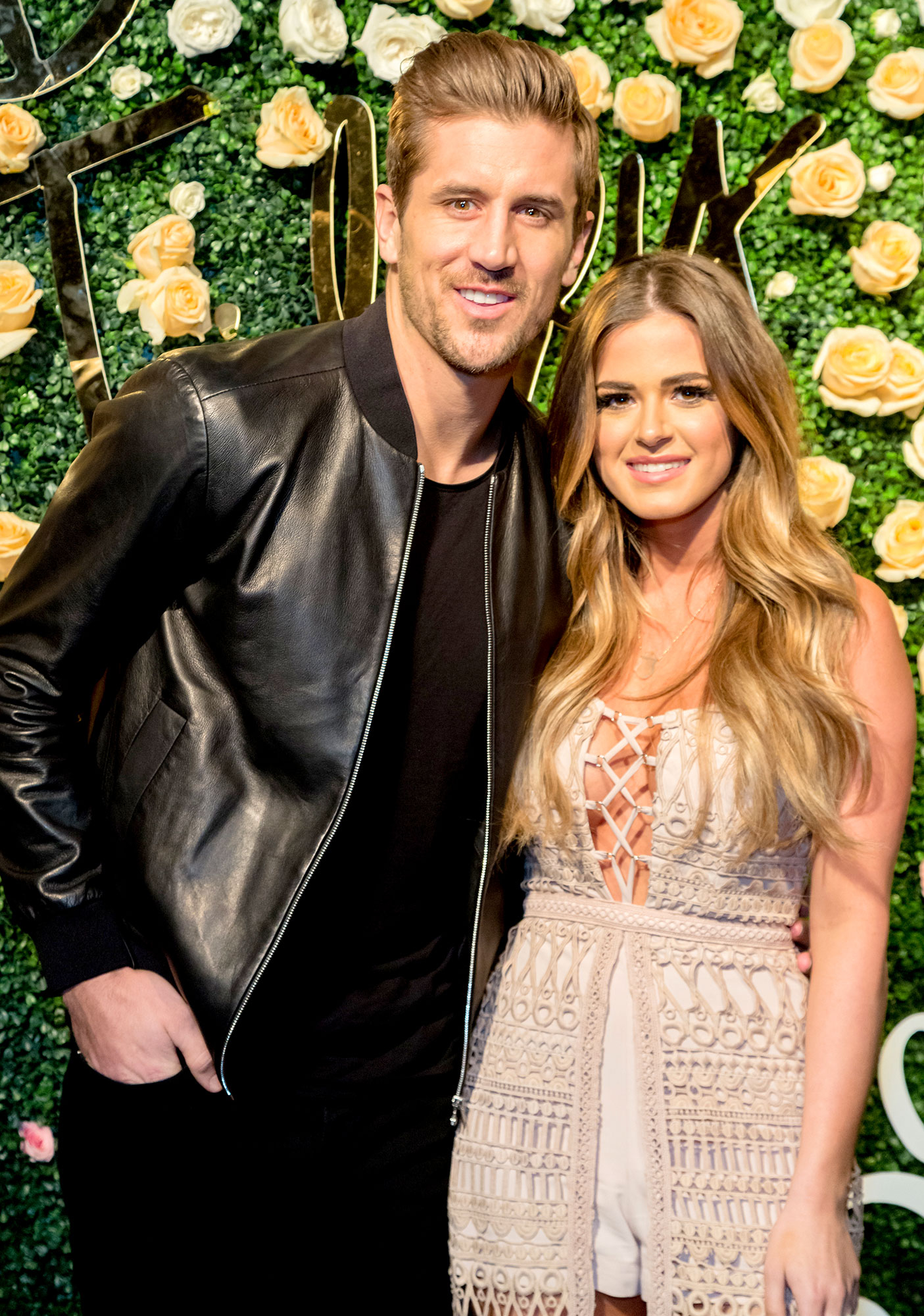 Jordan Rogers and JoJo Fletcher arrive for the Becca Tilley's Blog and YouTube Launch Party at The Bachelor Mansion on December 5, 2016 in Los Angeles, California.