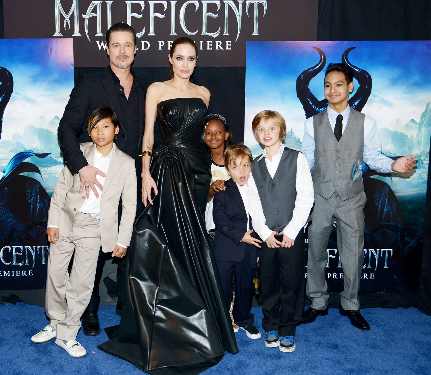 Brad Pitt and Angelina Jolie with children (from left) Pax, Zahara, Knox, Shiloh and Maddox