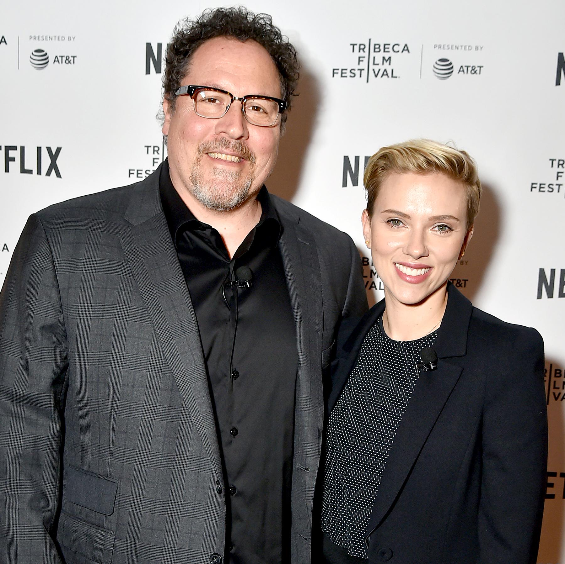 Jon Favreau and Scarlett Johansson attend Tribeca Talks: Jon Favreau with Scarlett Johansson during 2017 Tribeca Film Festival at SVA Theatre on April 21, 2017 in New York City.