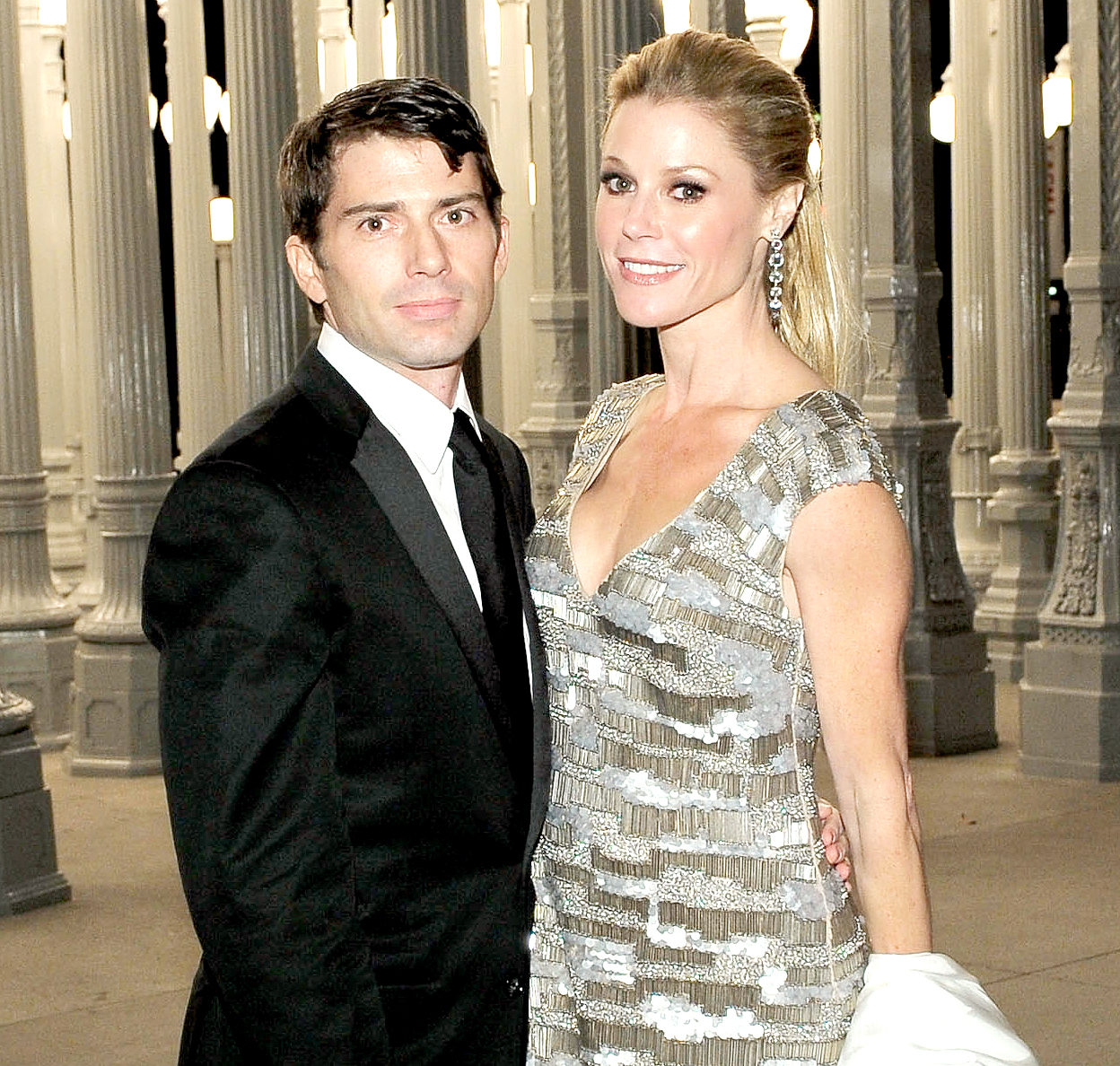 Julie Bowen and Scott Phillips attend the LACMA Art + Film Gala Honoring Clint Eastwood and John Baldessari, presented by Gucci, at the Los Angeles County Museum of Art on Nov. 5, 2011, in Los Angeles.