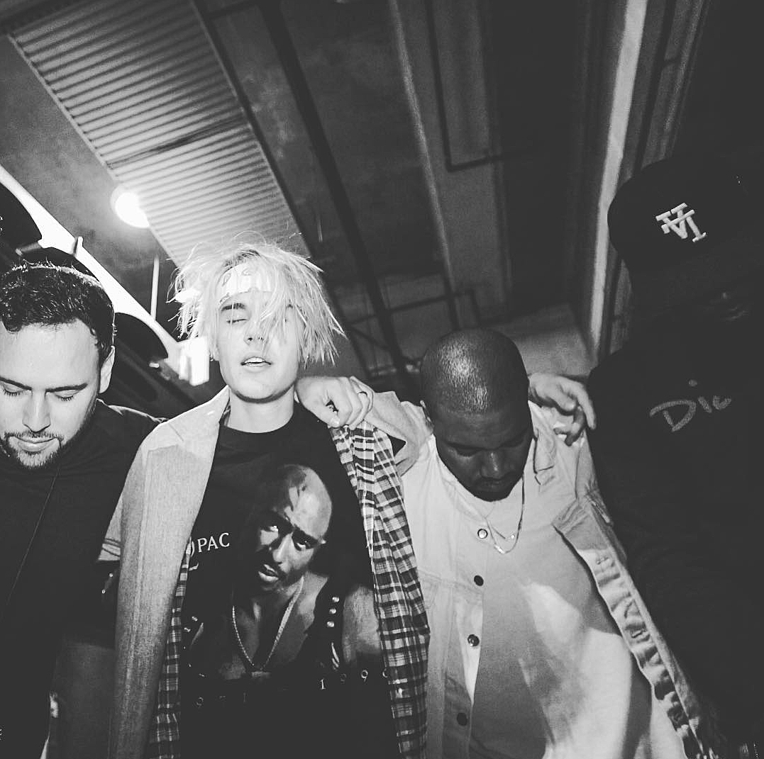 Justin Bieber with Kanye West and Diddy