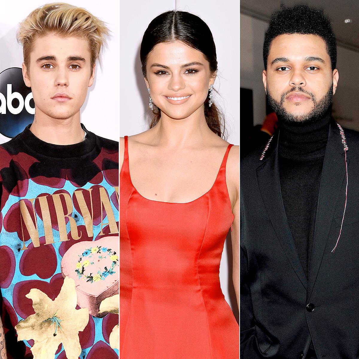 Justin Bieber, Selena Gomez, and The Weeknd