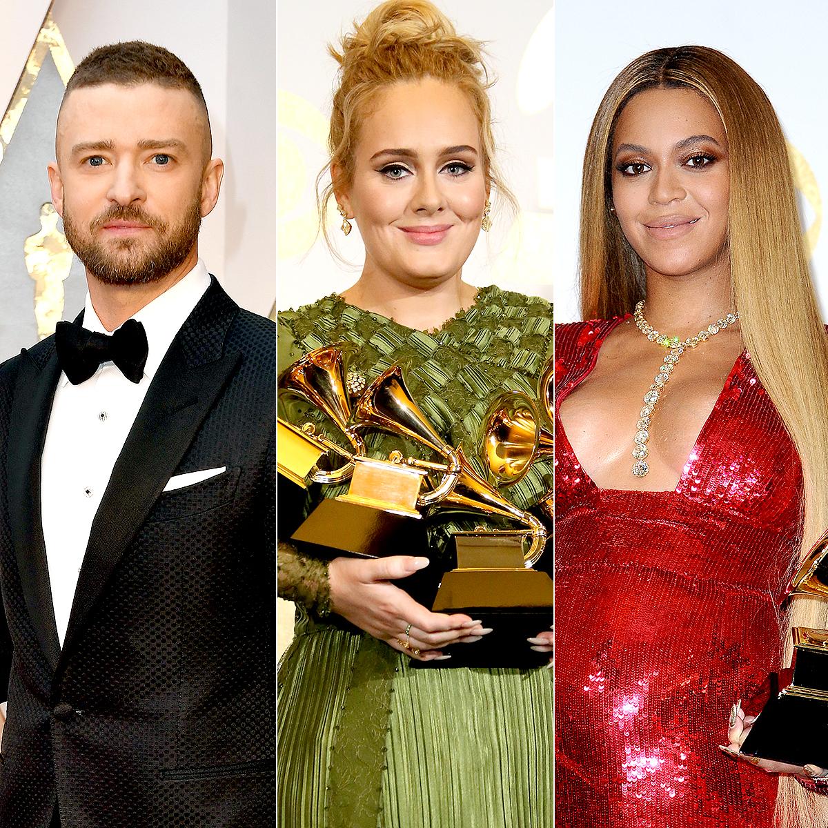 Justin Timberlake, Adele, and Beyonce