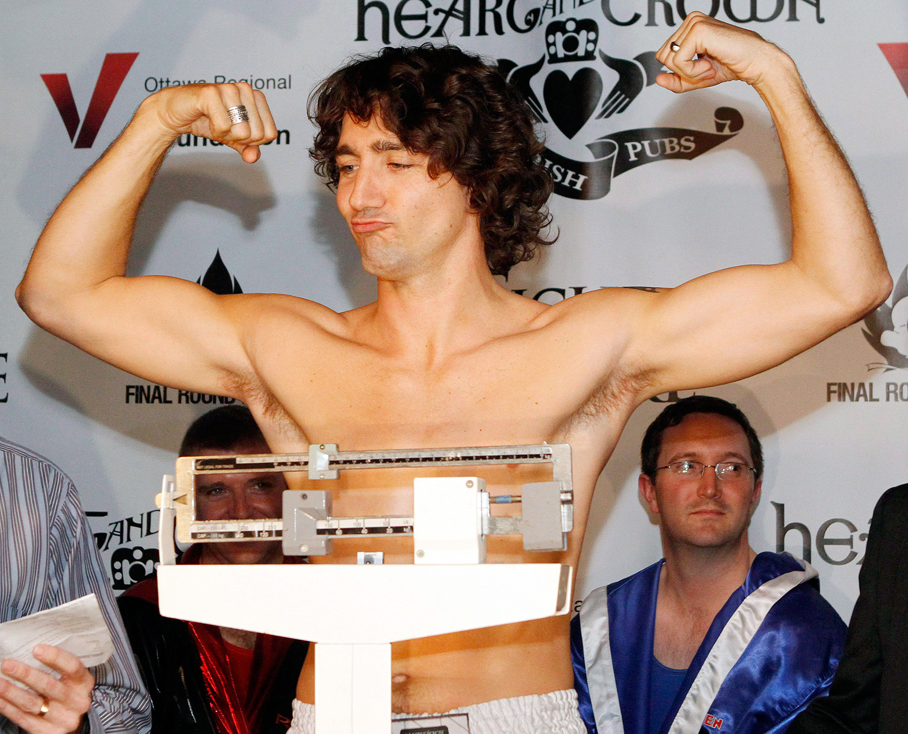 Justin Trudeau boxing weigh in 2012 shirtless