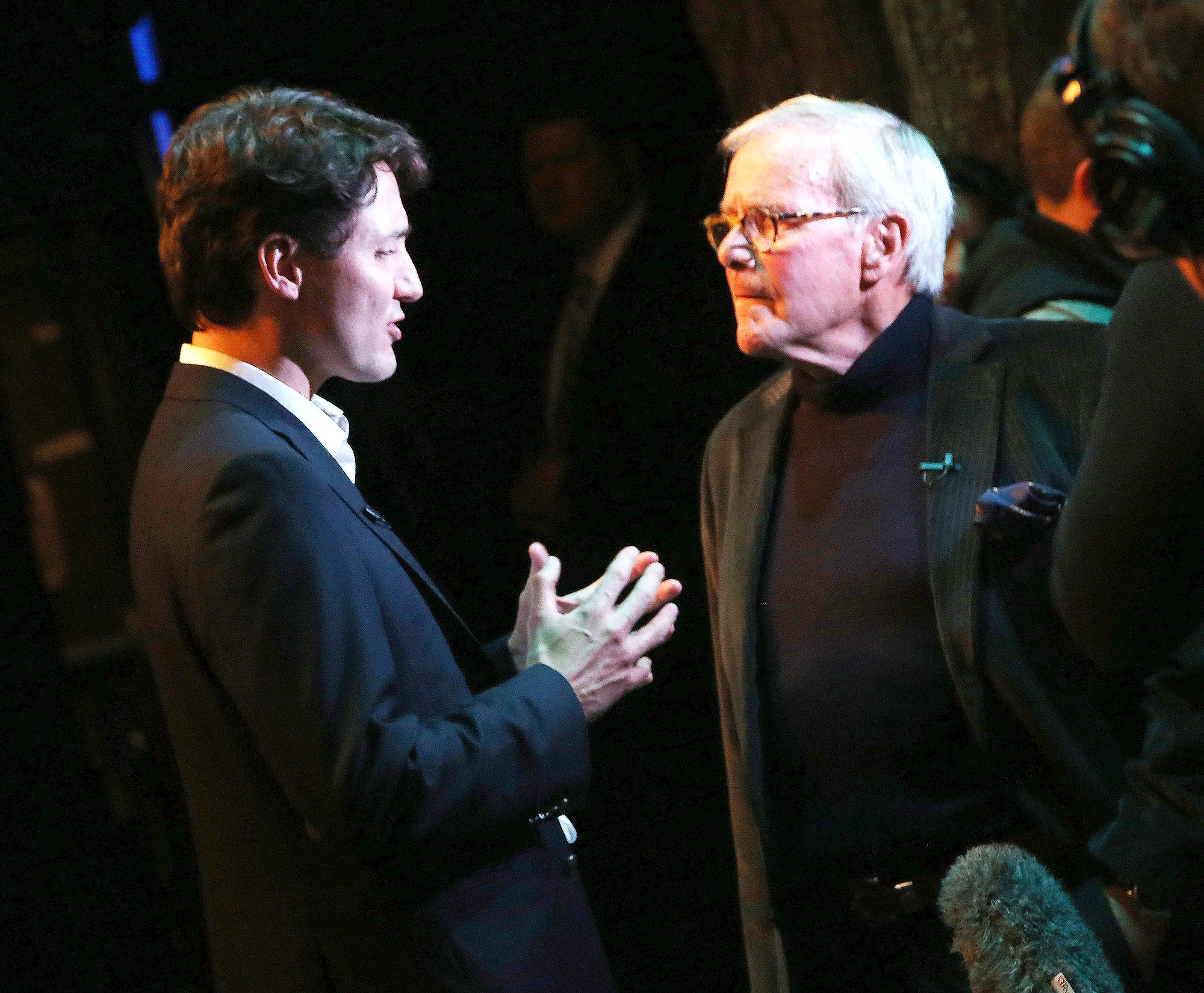 "Canadian Prime Minister Justin Trudeau and Television Journalist/Author Tom Brokaw chat backstage at the hit musical ""Come from Away"" on Broadway at The Schoenfeld Theatre on March 15, 2017 in New York City"