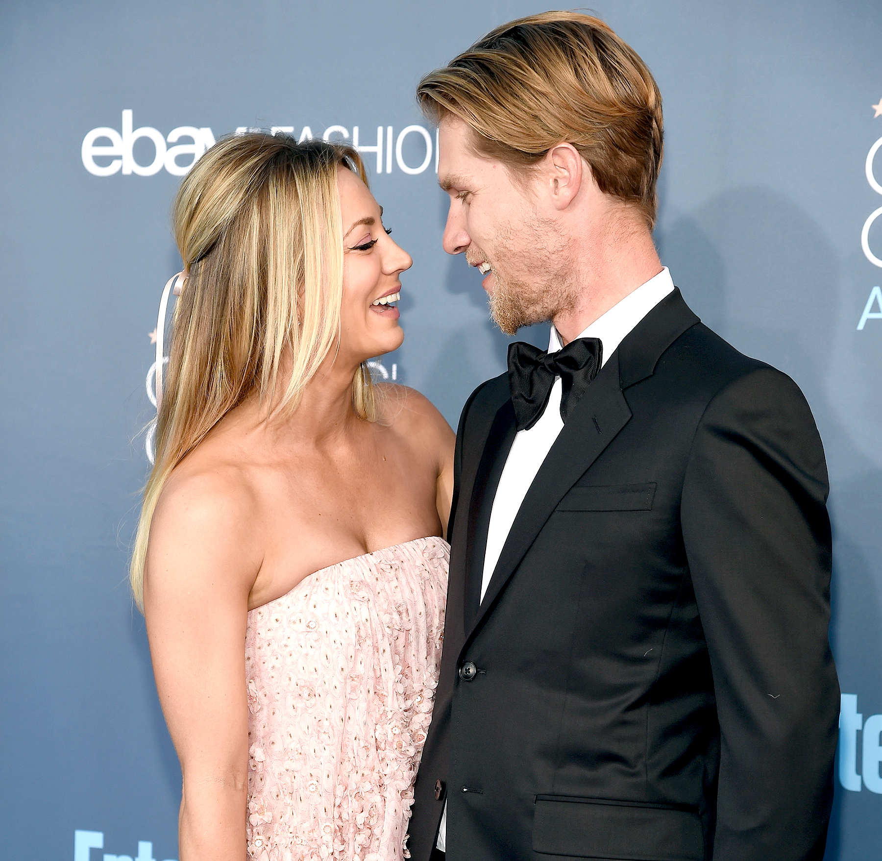 Kaley Cuoco and Karl Cook attend The 22nd Annual Critics' Choice Awards at Barker Hangar on December 11, 2016 in Santa Monica, California.