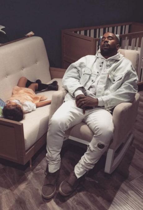 Kanye West, North West Fall Asleep During Shopping Trip With Kim Kardashian: Photo