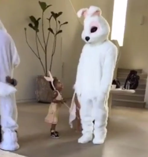 Kanye West dresses up as an Easter bunny with daughter North West