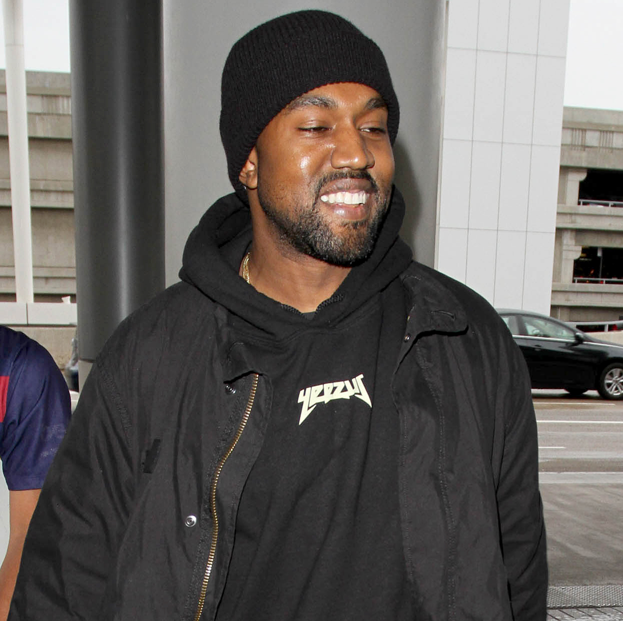 Kanye West is seen at LAX on February 17, 2016 in Los Angeles, California.