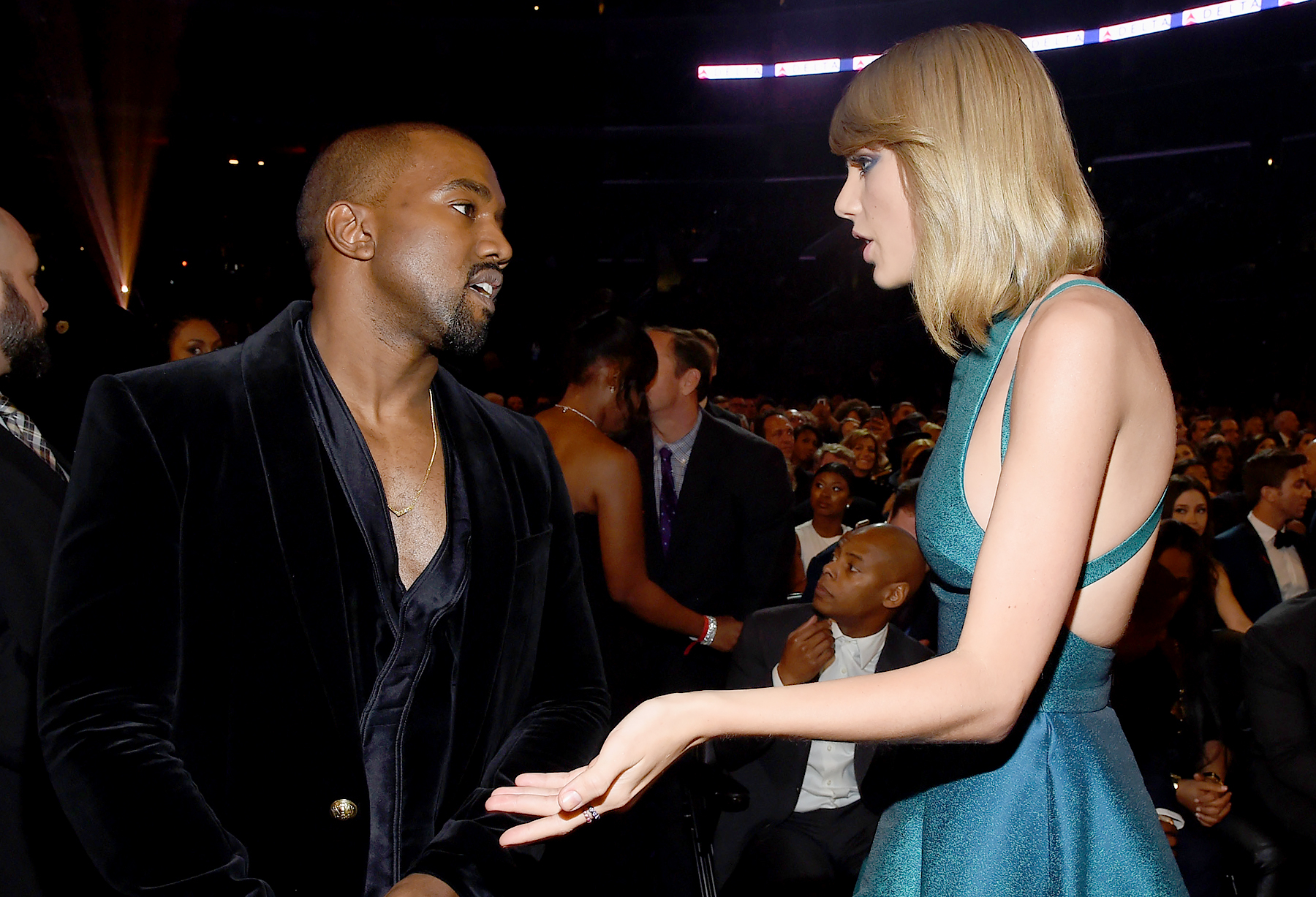Kanye West and Taylor Swift attend The 57th Annual GRAMMY Awards.