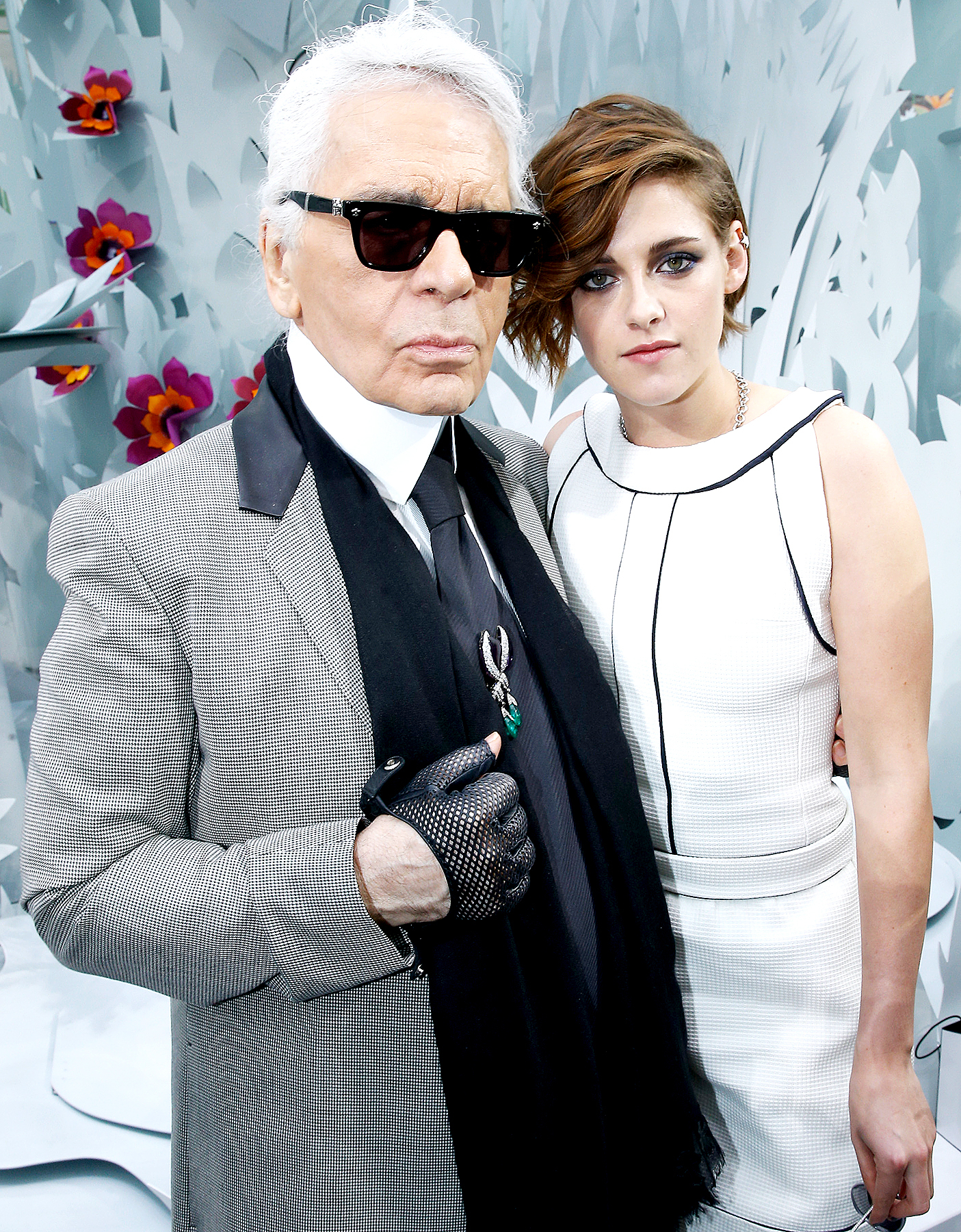 Karl Lagerfeld and Kristen Stewart pose after the Chanel show as part of Paris Fashion Week Haute Couture Spring/Summer 2015 on January 27, 2015 in Paris, France.