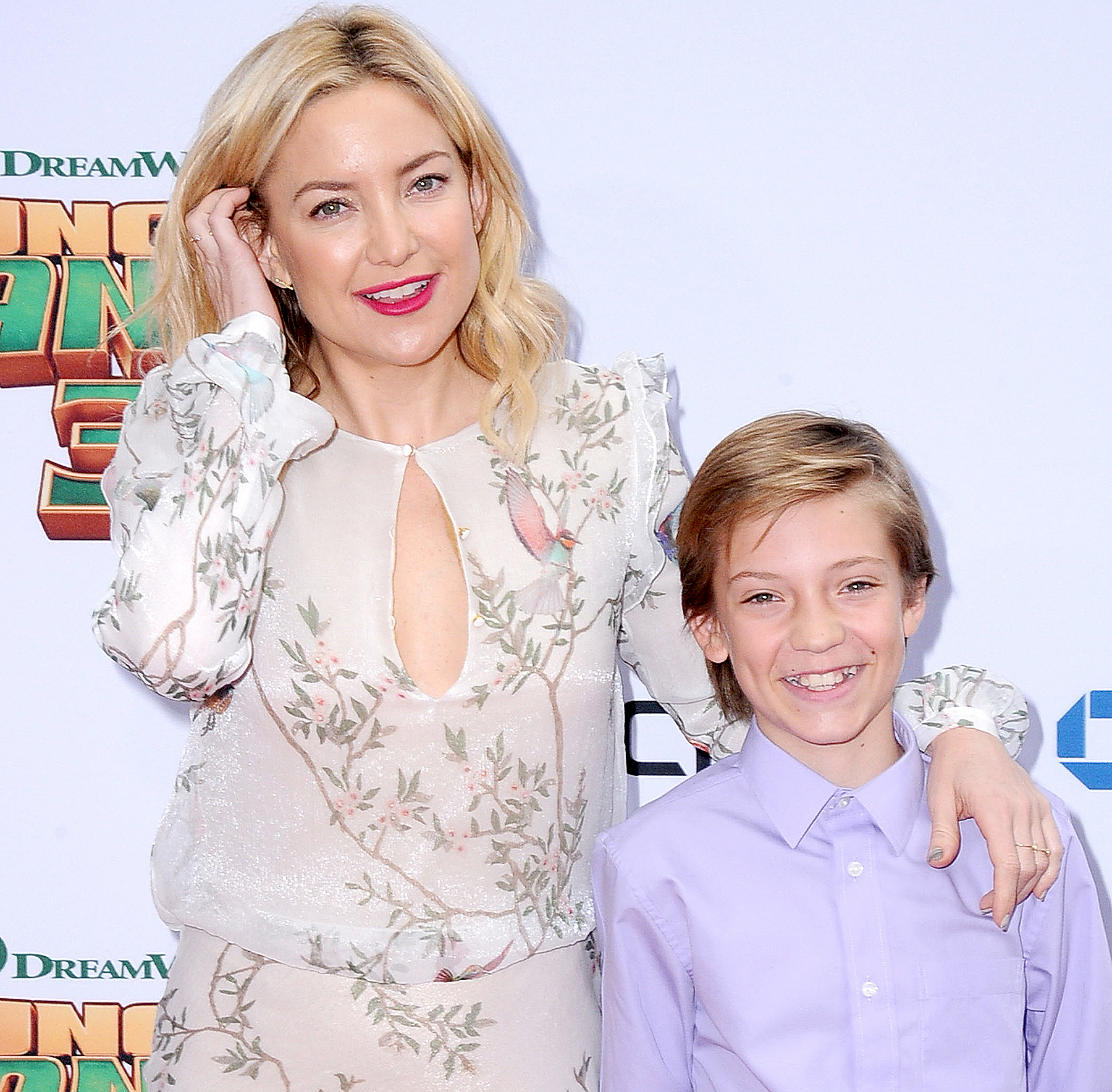 Kate Hudson and son Ryder Robinson arrive at the Premiere of DreamWorks and Twentieth Century Fox's 'Kung Fu Panda 3' at TCL Chinese Theatre on January 16, 2016 in Hollywood, California.