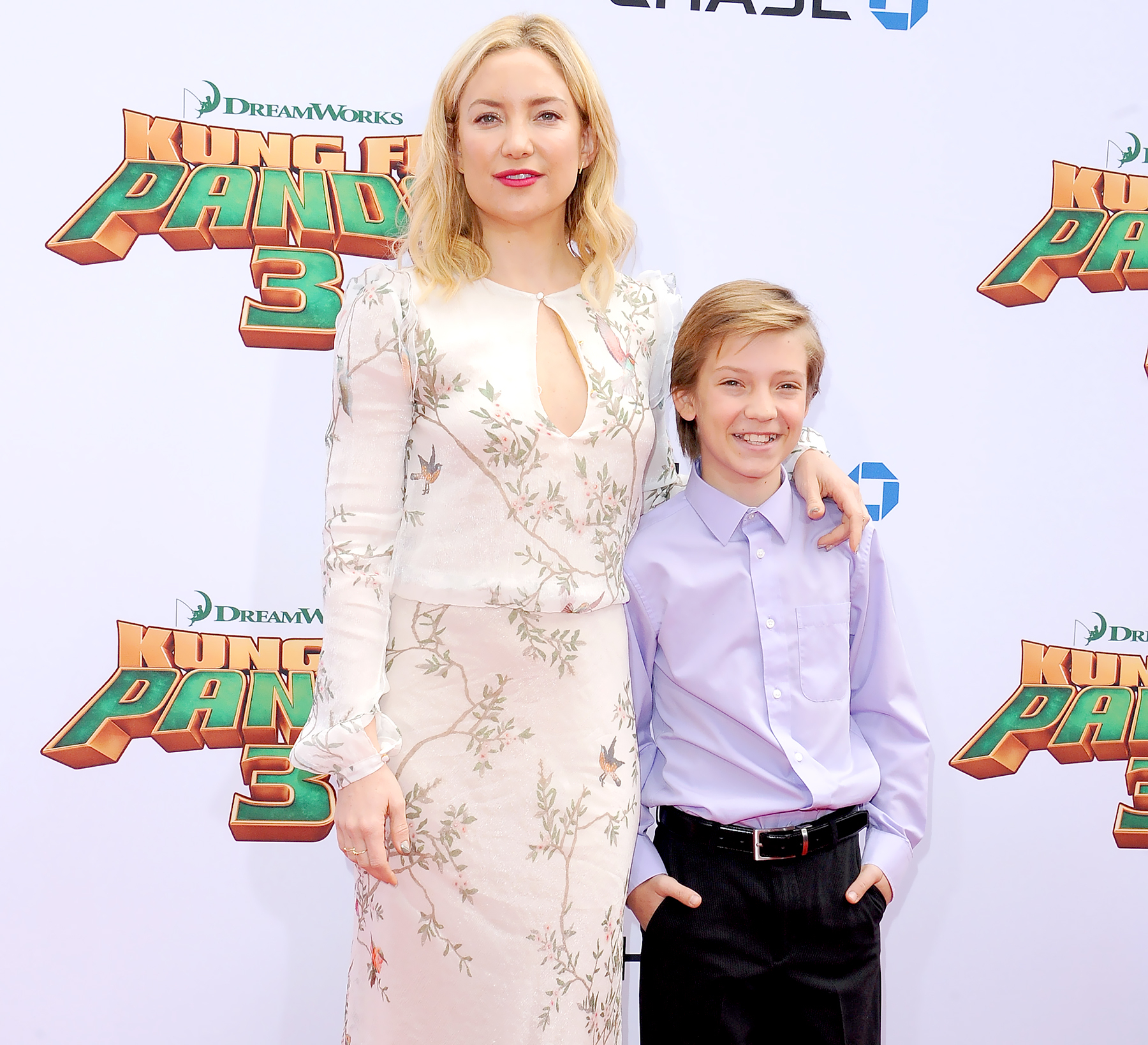 Kate Hudson and son Ryder Robinson arrive at the premiere of 20th Century Fox's 'Kung Fu Panda 3' at TCL Chinese Theatre on January 16, 2016 in Hollywood, California.