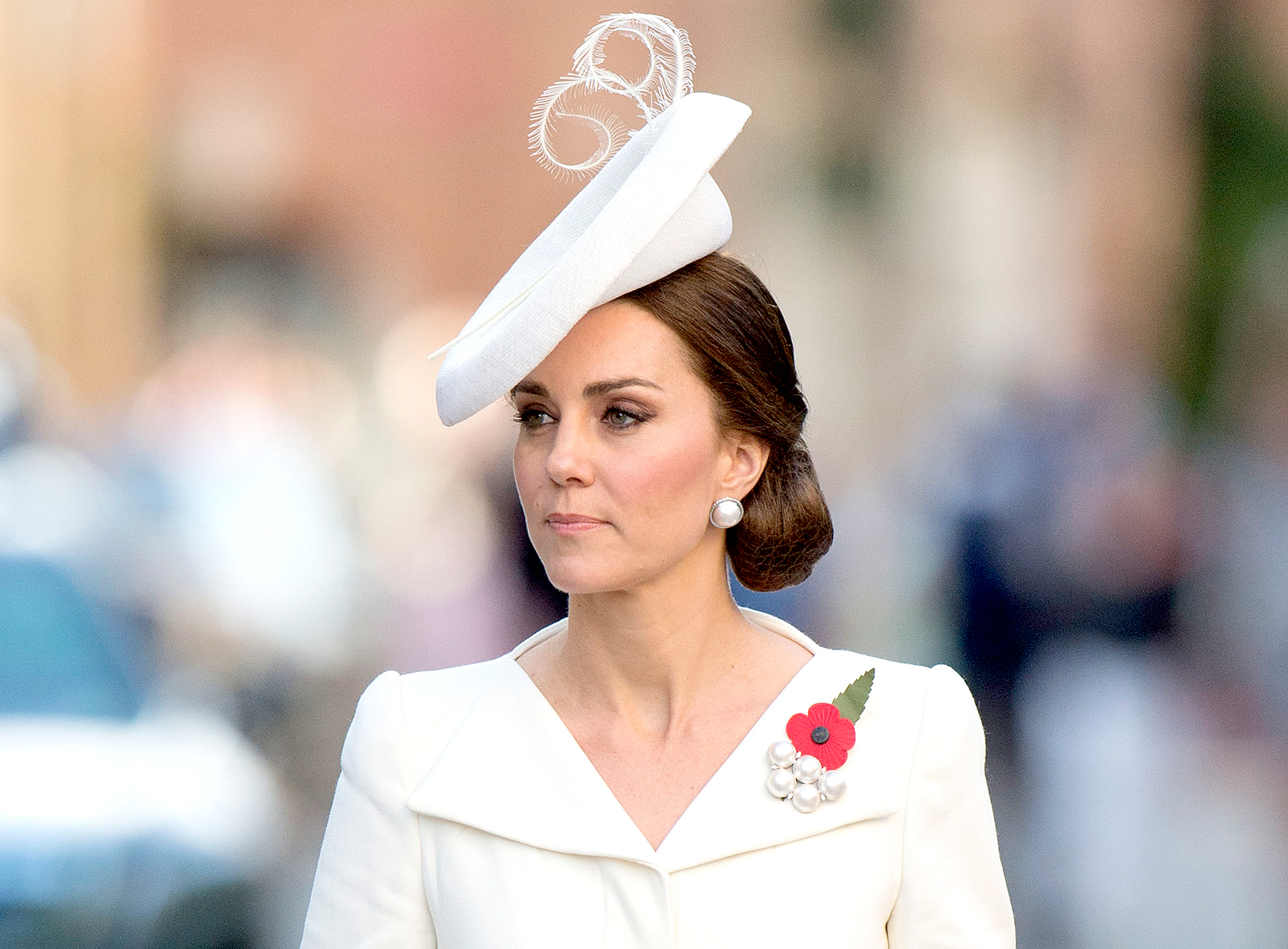 Catherine, Duchess of Cambridge attends the Last Post ceremony at the Commonwealth War Graves Commission Ypres (Menin Gate) Memorial on July 30, 2017 in Ypres, Belgium.