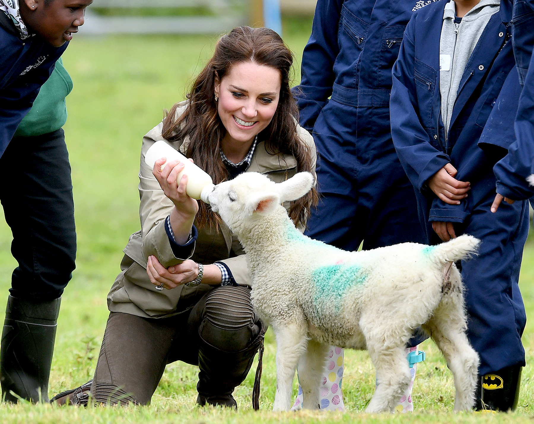 Catherine, Duchess of Cambridge feeds Stinky the lamb during her visit of Farms for City Children on May 3, 2017 in Arlingham, Gloucestershire.