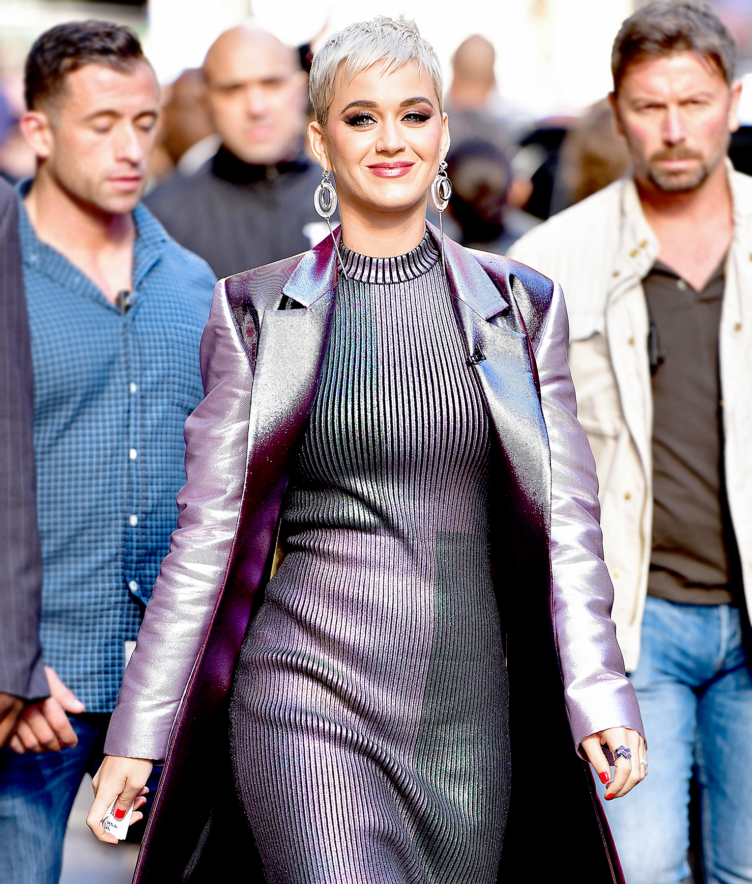 "Katy Perry leaves ABC's ""Good Morning America"" in Times Square on October 4, 2017 in New York City."