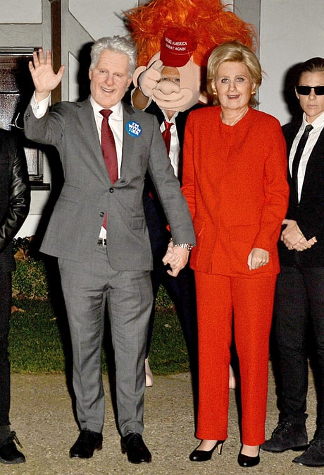 Katy Perry dresses as Hillary Clinton at Kate Hudson's Halloween party.