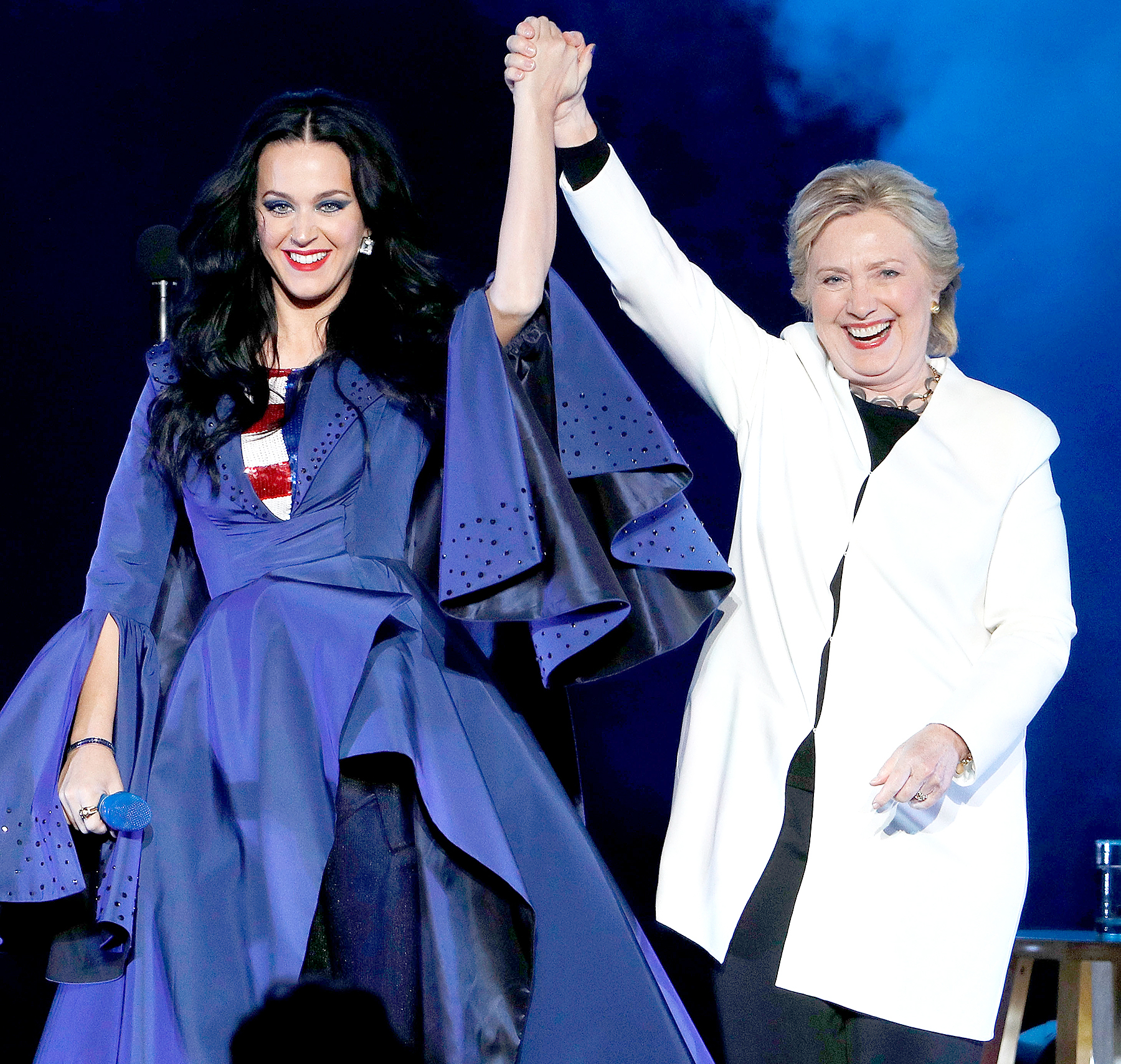 Katy Perry and Hillary Clinton attend a GOTV rally at Mann Center For Performing Arts on November 5, 2016 in Philadelphia, Pennsylvania.