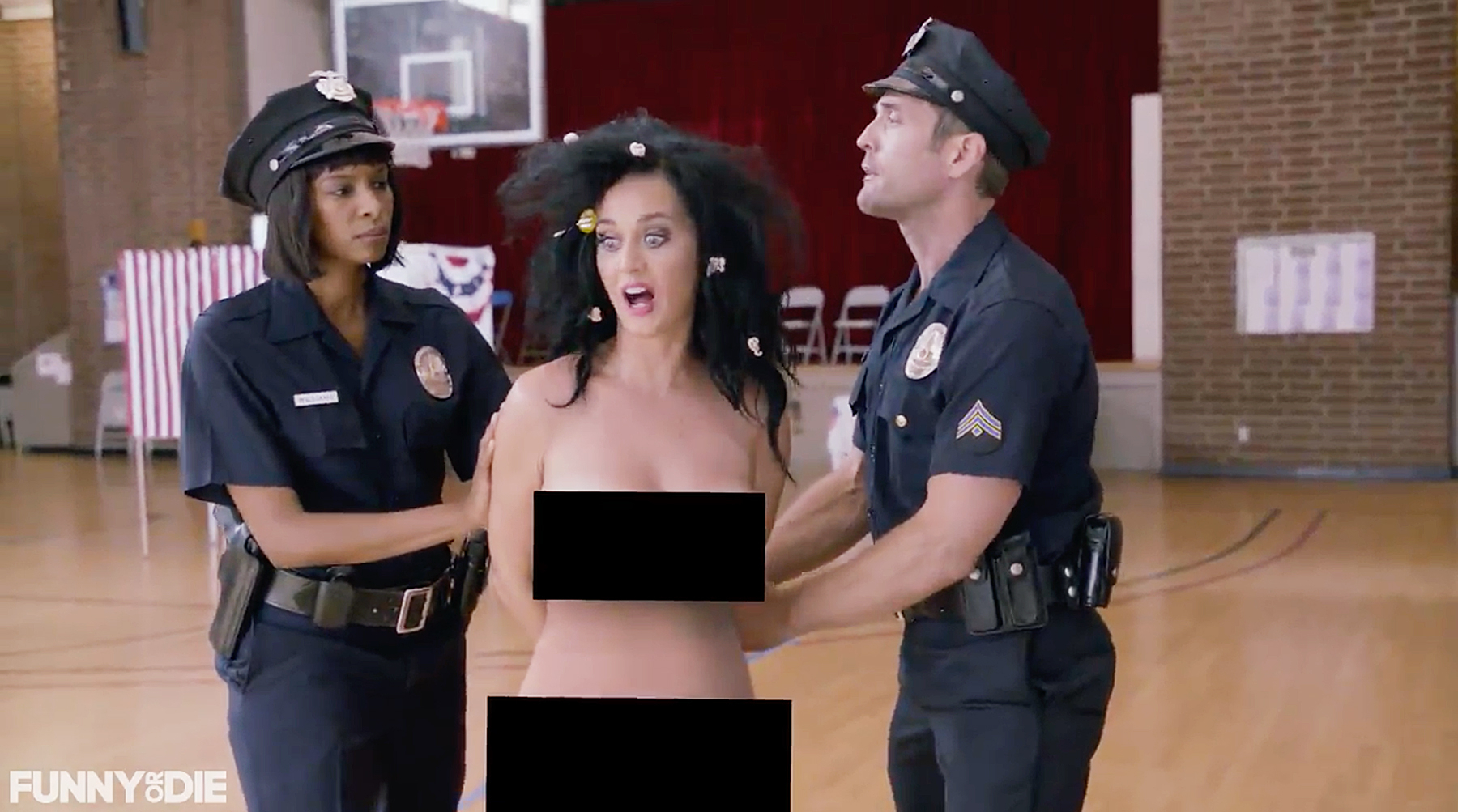 Katy Perry takes her clothes off for skit to encourage people to vote