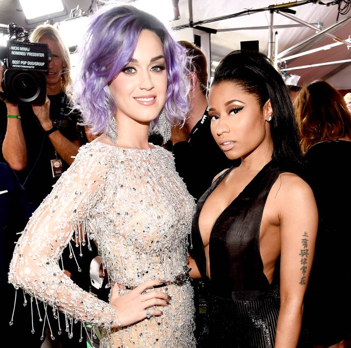 Katy Perry and Nicki Minaj attend The 57th Annual GRAMMY Awards at the STAPLES Center on February 8, 2015 in Los Angeles, California.