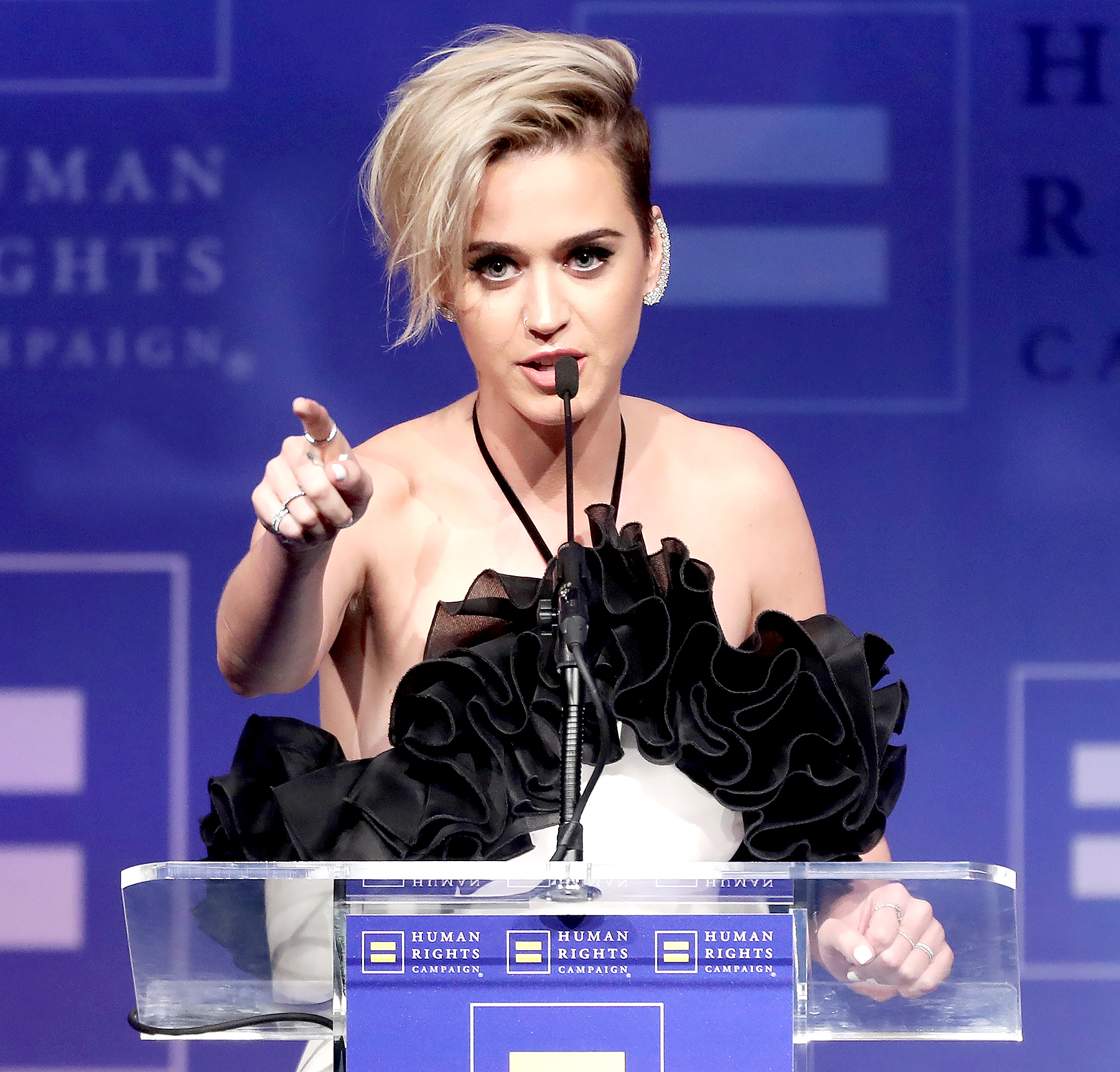 Katy Perry accepts the HRC National Equality Award onstage at The Human Rights Campaign 2017 Los Angeles Gala Dinner at JW Marriott Los Angeles at L.A. LIVE on March 18, 2017 in Los Angeles, California.