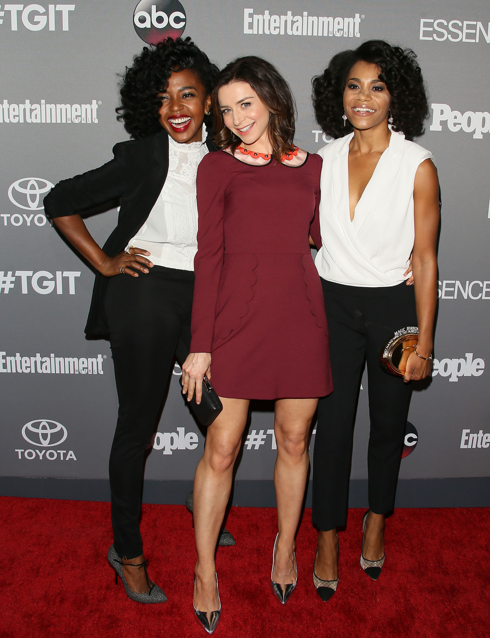 Kelly McCreary, Jerrika Hinton and Caterina Scorsone attend the Celebration of ABC's TGIT Line-up on September 26, 2015 in West Hollywood, California