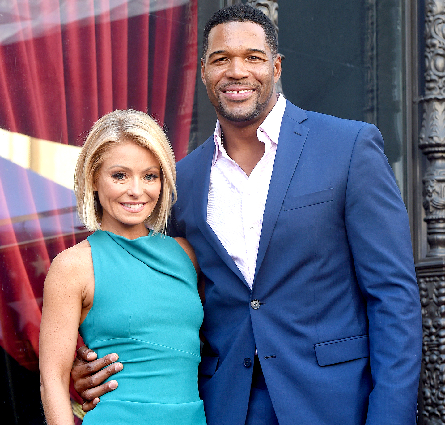 Kelly Ripa and Michael Strahan attend the ceremony honoring Kelly Ripa with a star on the Hollywood Walk of Fame on October 12, 2015.