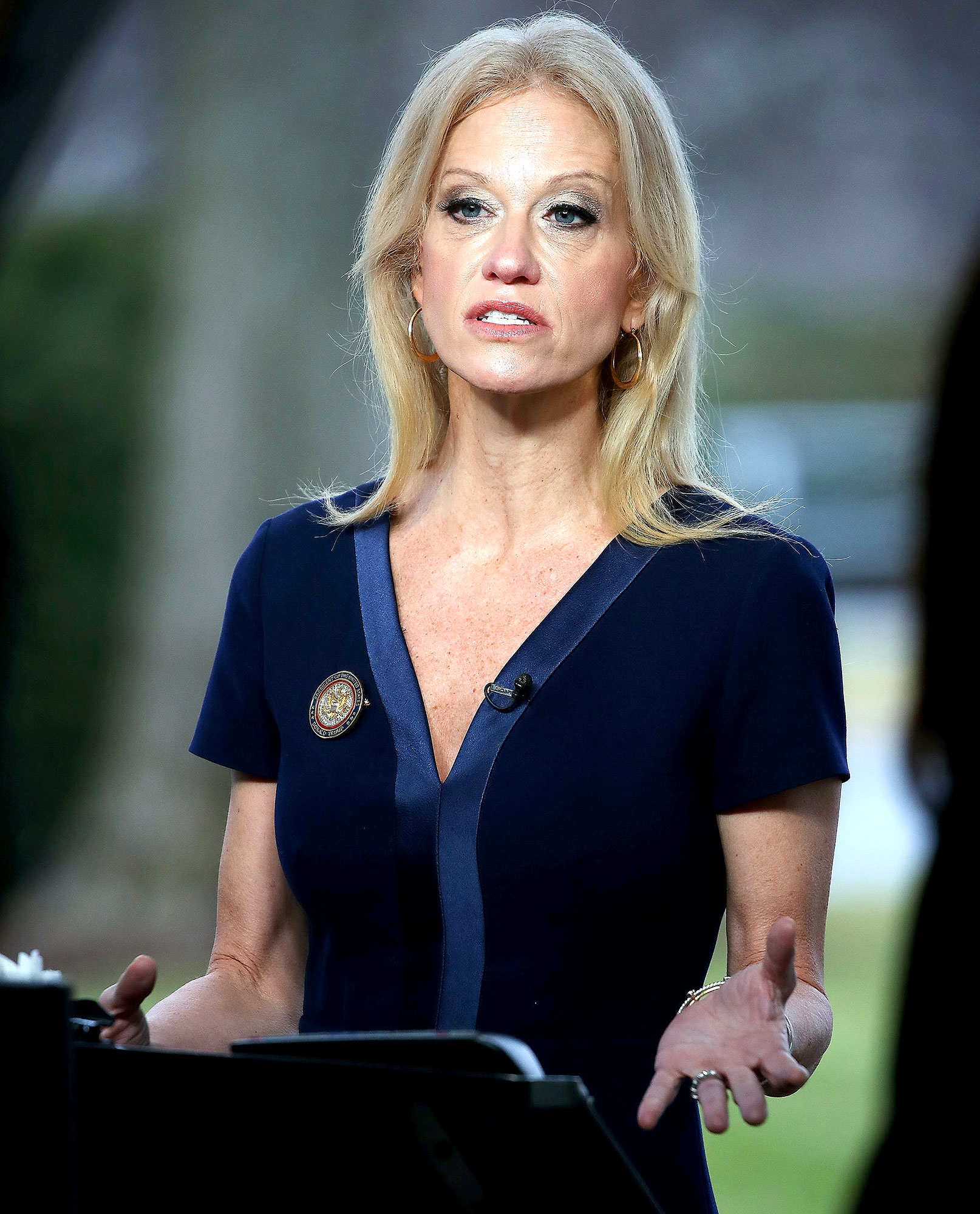Counselor to President, Kellyanne Conway, appears on the Sunday morning show This Week with George Stephanopoulos, from the north lawn at the White House, January 22, 2017 in Washington, DC.