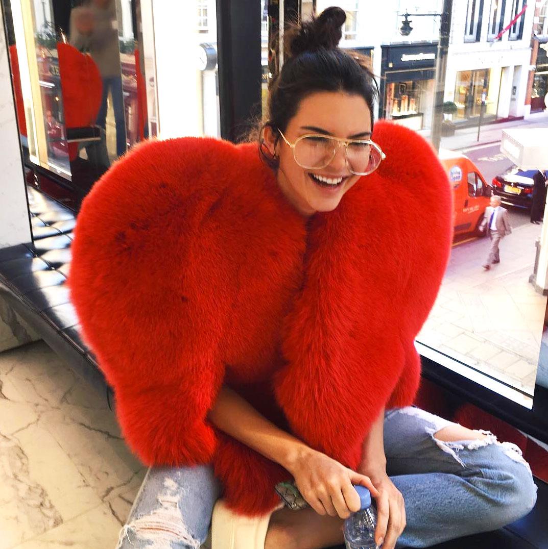f996296e26d3 Kendall Jenner and Rihanna Wear Red Heart-Shaped Fur Coats