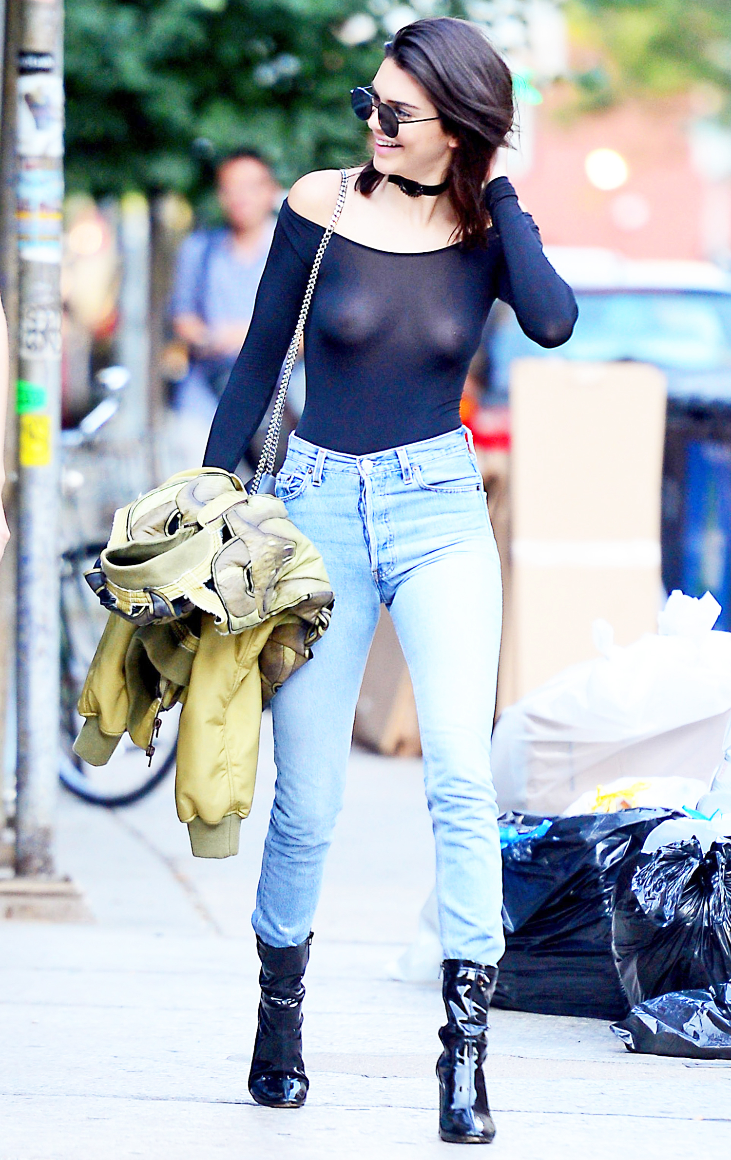 Kendall Jenner Flashes Nipple Piercing In Sheer Top Pics