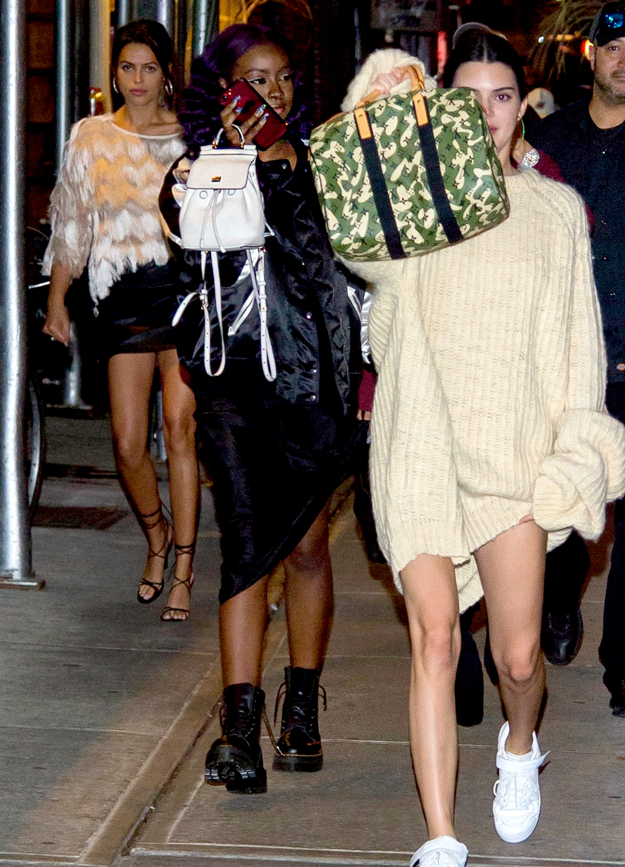 Kendall Jenner headed to dinner at Carbone with Brooks Nader and Justine Skye.