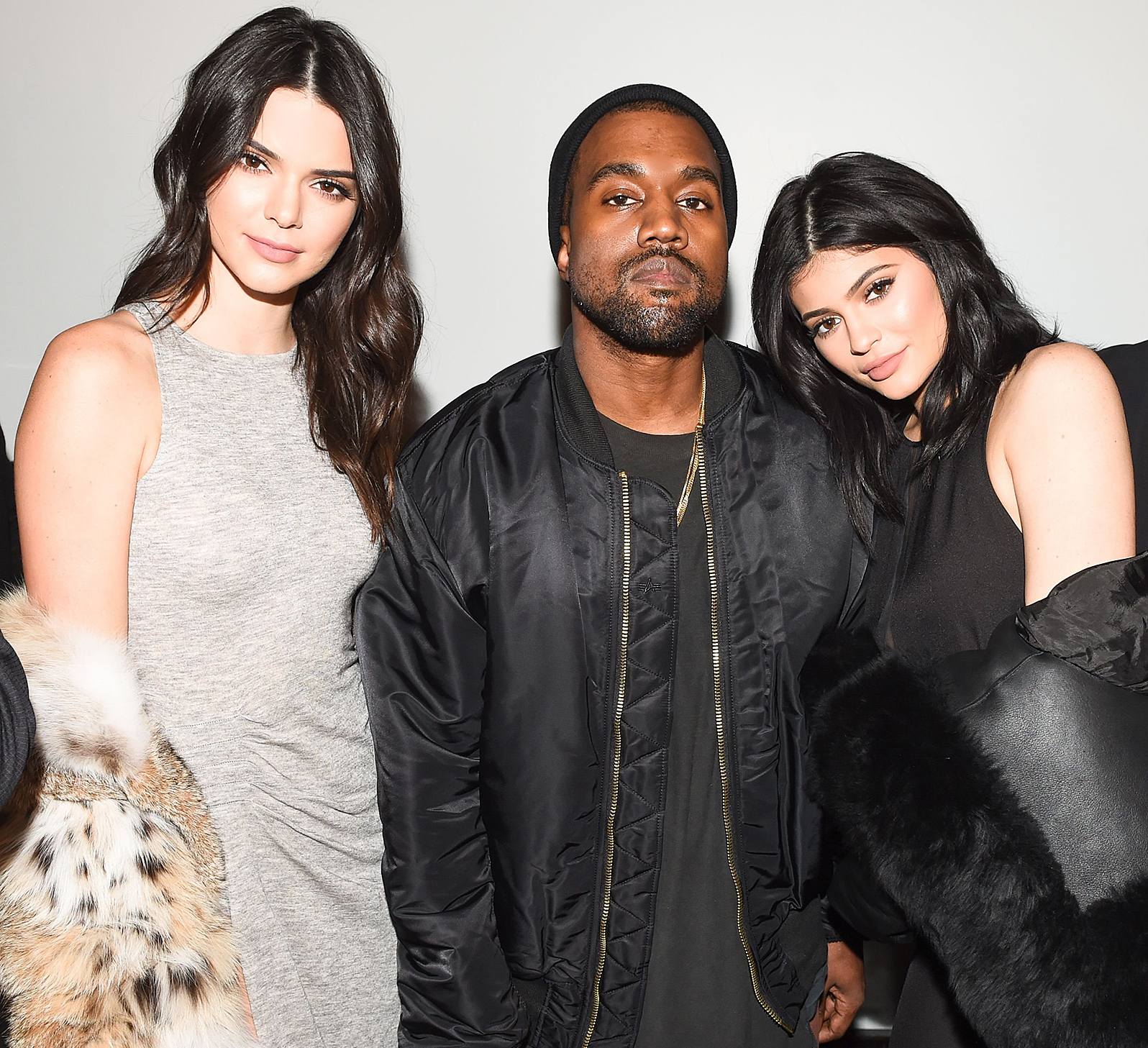 Kendall Jenner, Kanye West, Kylie Jenner at the Kendall & Kylie Collection launch event.